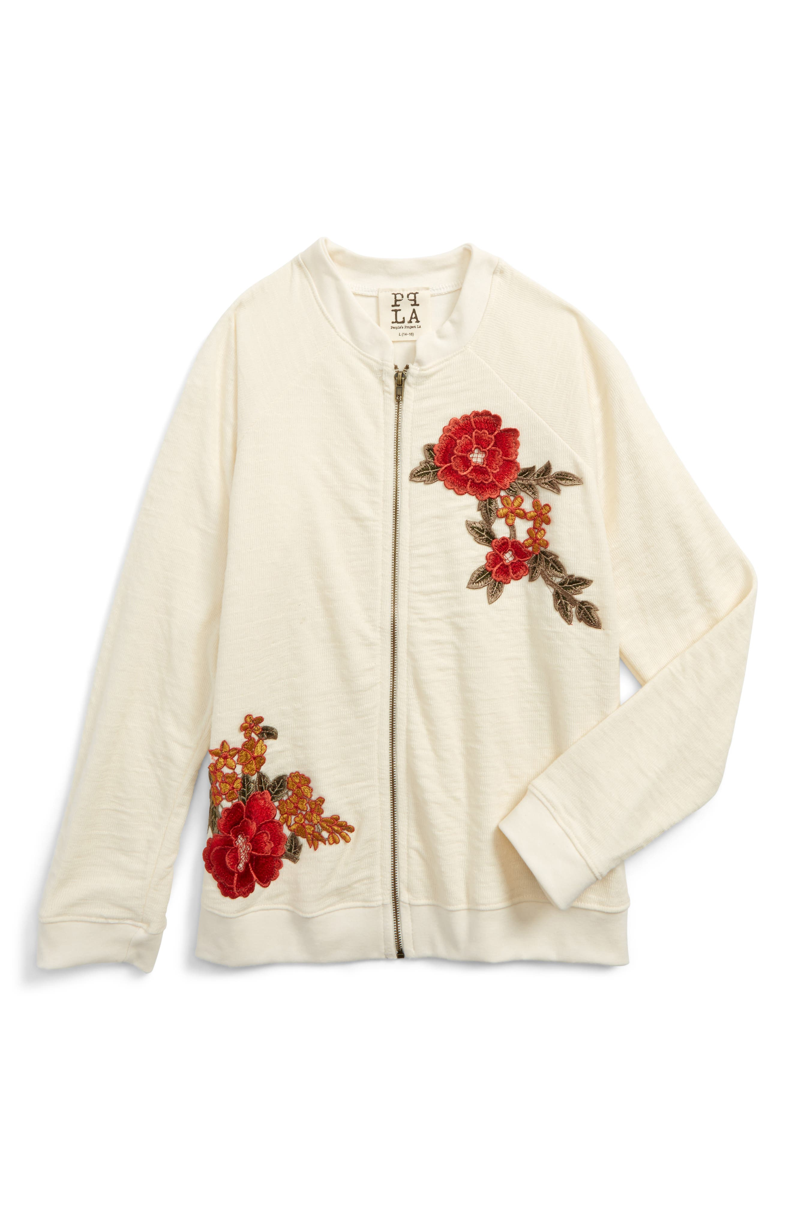 Main Image - PPLA Floral Appliqué Knit Jacket (Big Girls)