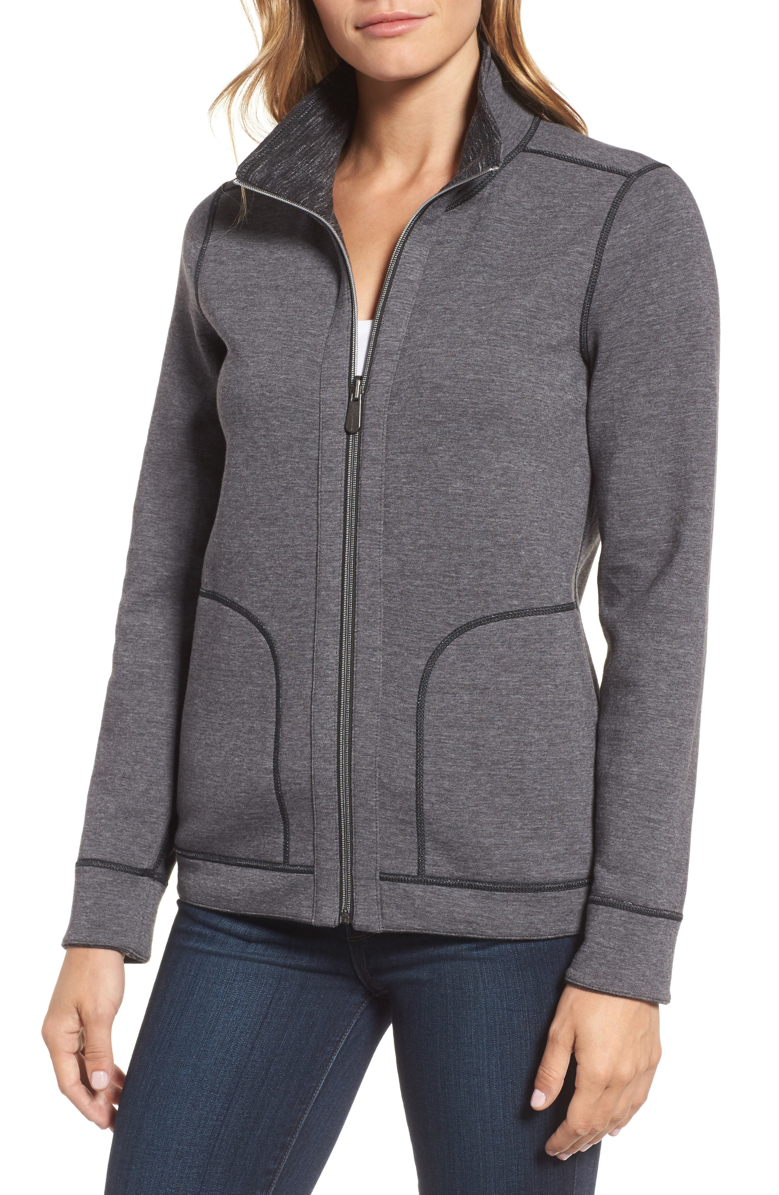 Reversible Marled Knit Jacket,                             Alternate thumbnail 4, color,                             Noir Heather