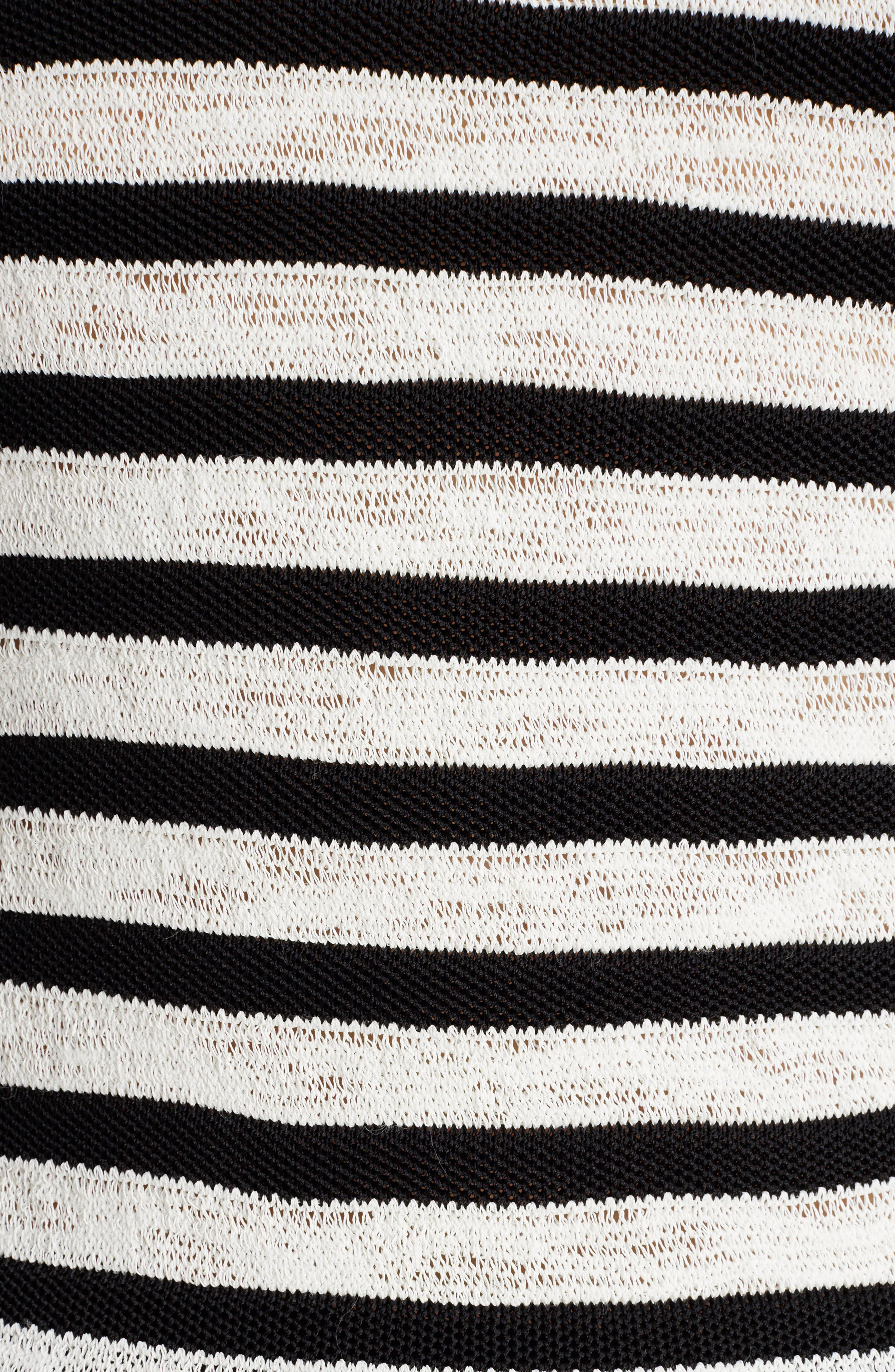 Marine Stripe Knit Sweater,                             Alternate thumbnail 5, color,                             Black And White