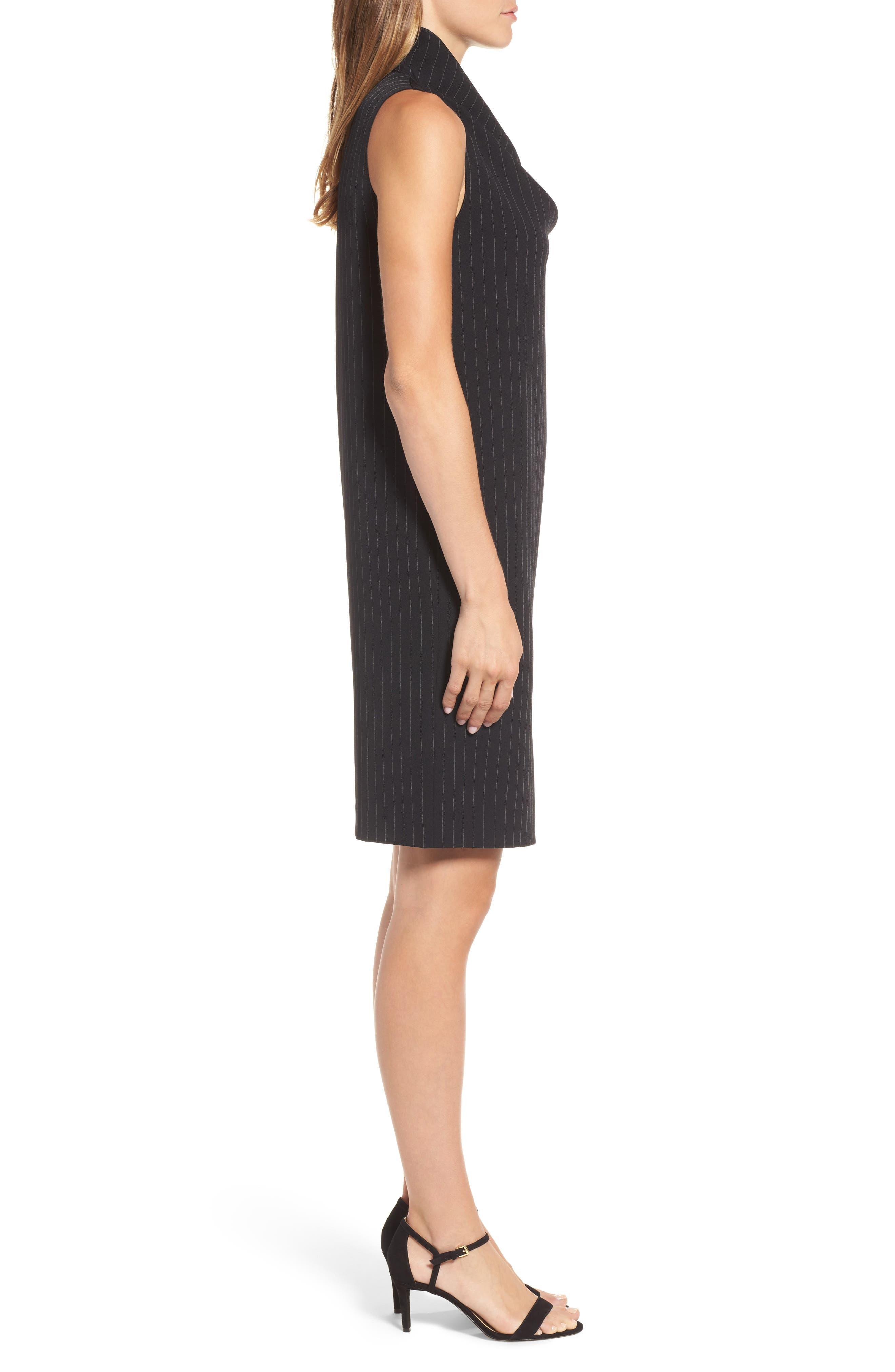 Pinstripe Shift Dress,                             Alternate thumbnail 3, color,                             Black/ White