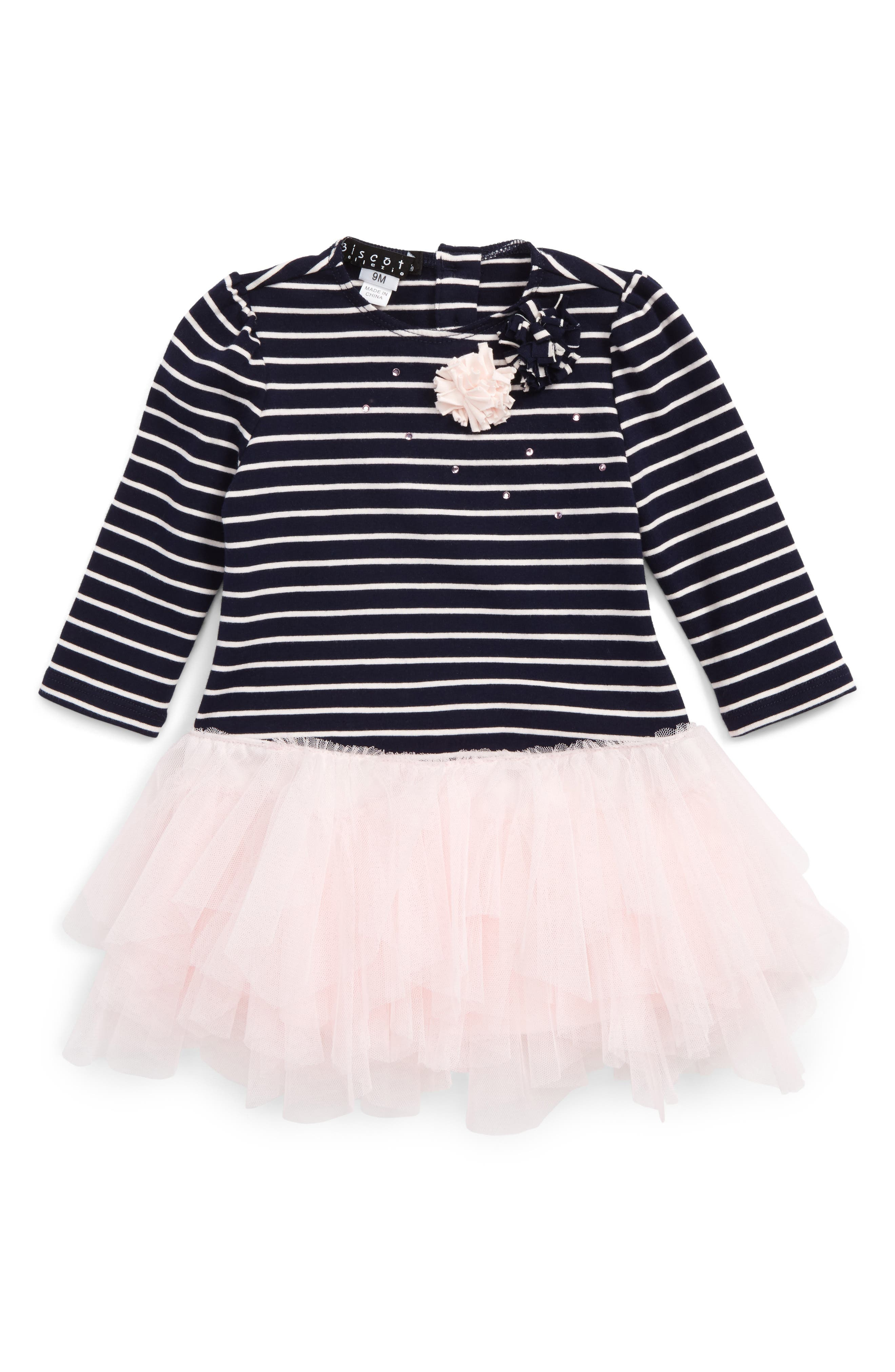 Stripe Bodice Tutu Dress,                             Main thumbnail 1, color,                             Navy