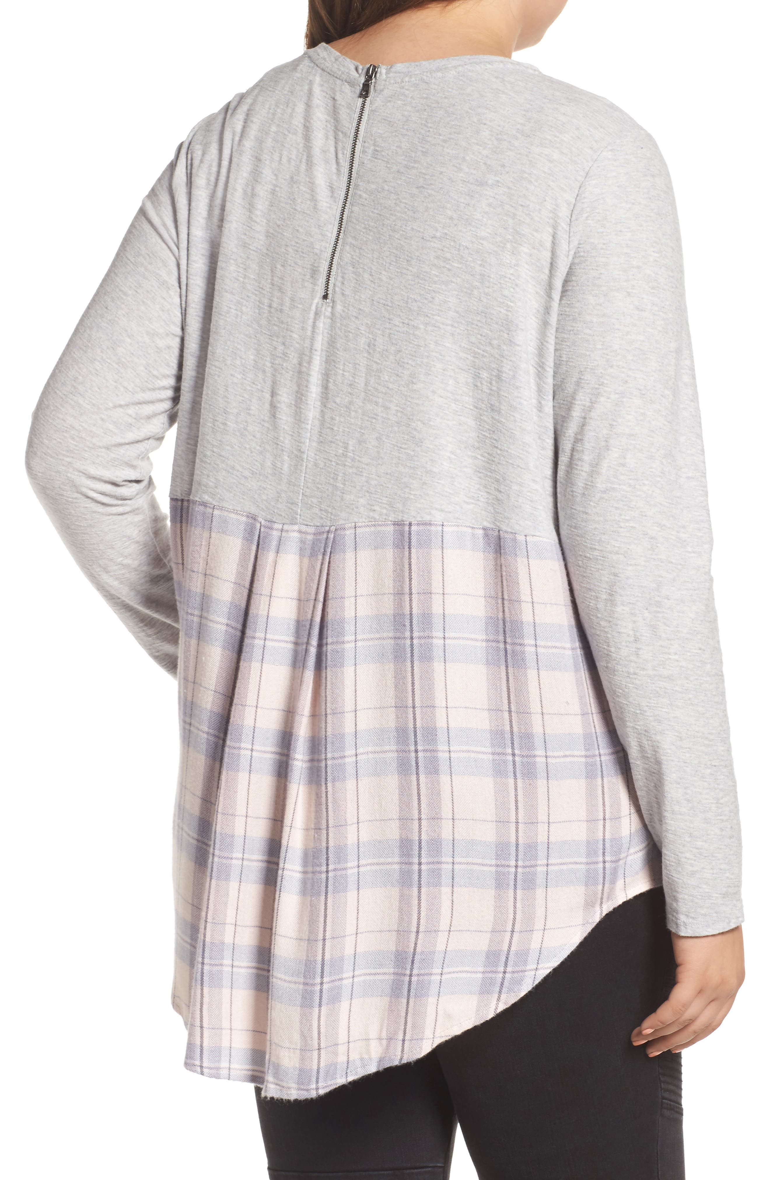 Alternate Image 2  - Two by Vince Camuto Mixed Media Plaid Top (Plus Size)
