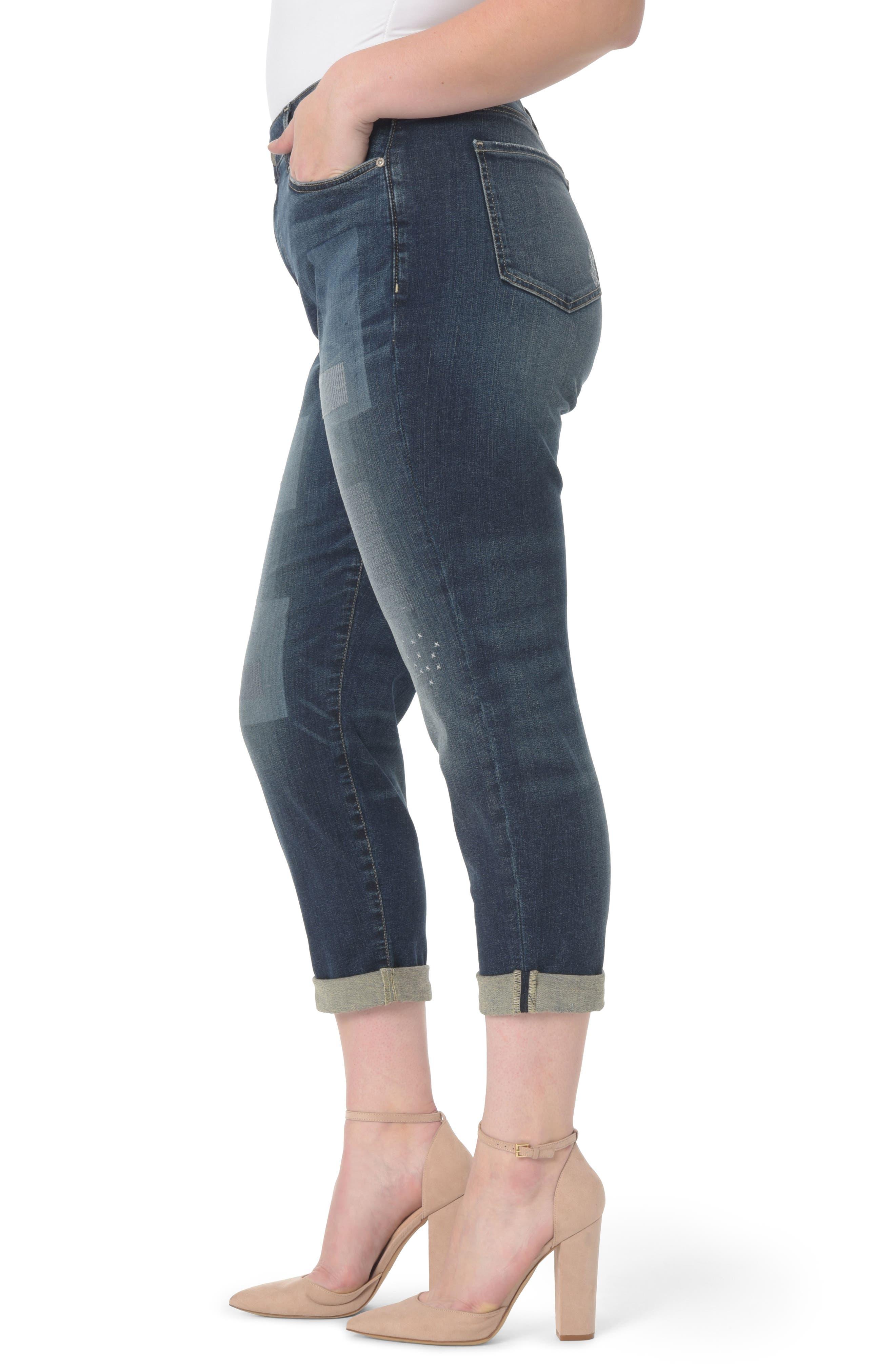 Alternate Image 3  - NYDJ Shadow Patch Stretch Boyfriend Jeans (Horizon) (Plus Size)