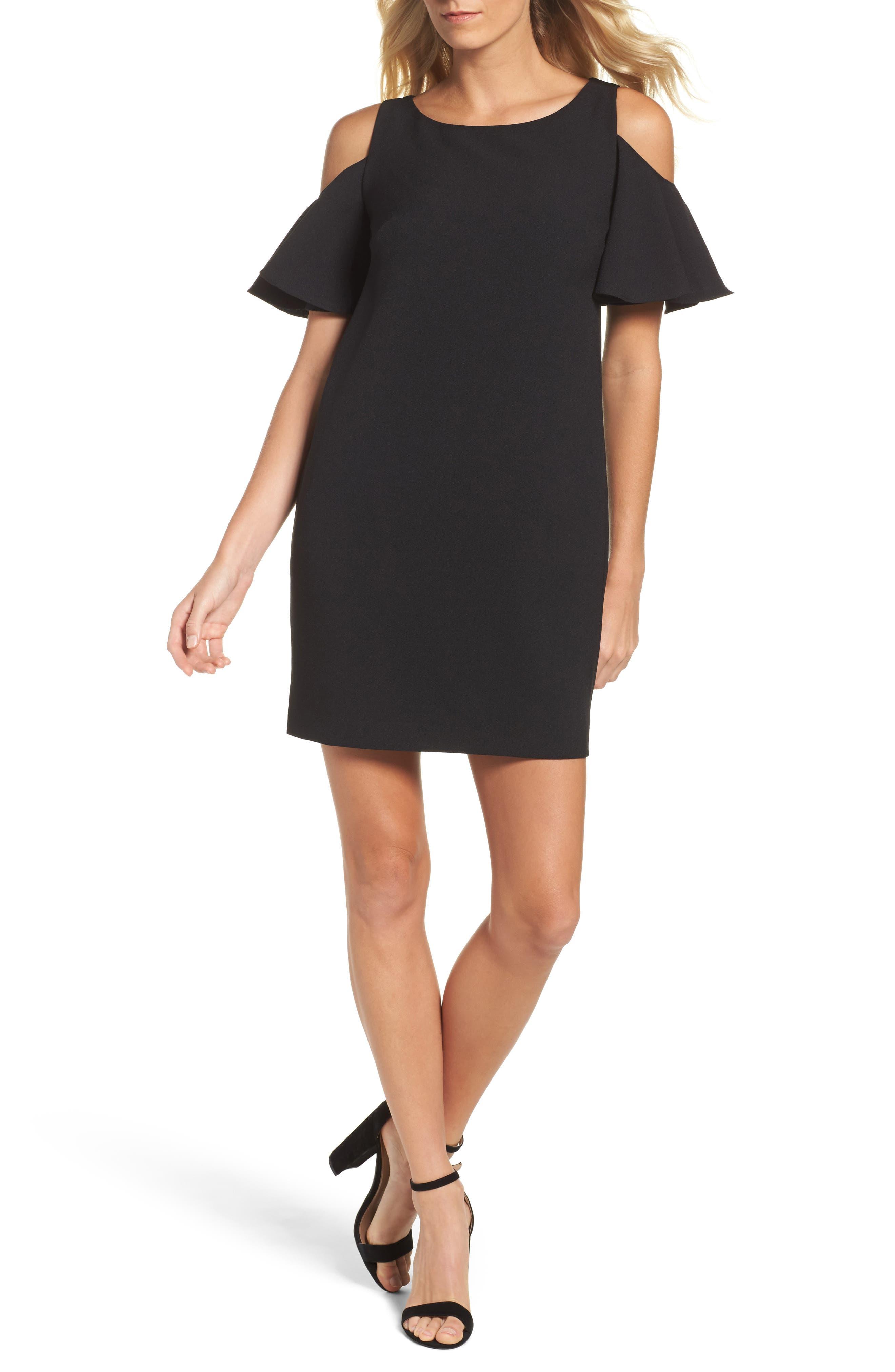Ruffle Cold Shoulder Shift Dress,                         Main,                         color, Black