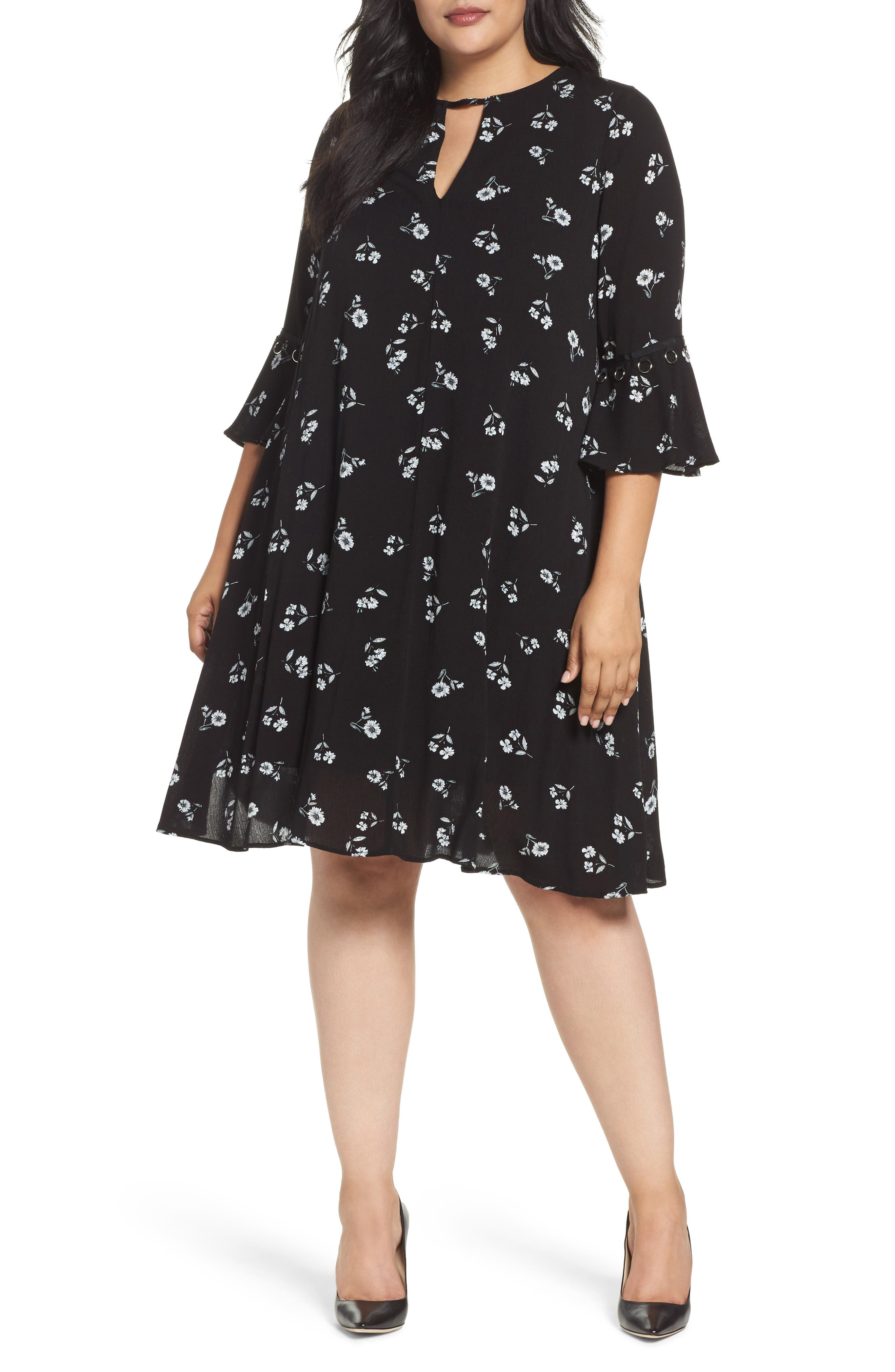 Bell Sleeve Floral Shift Dress,                         Main,                         color, Black White Daisy