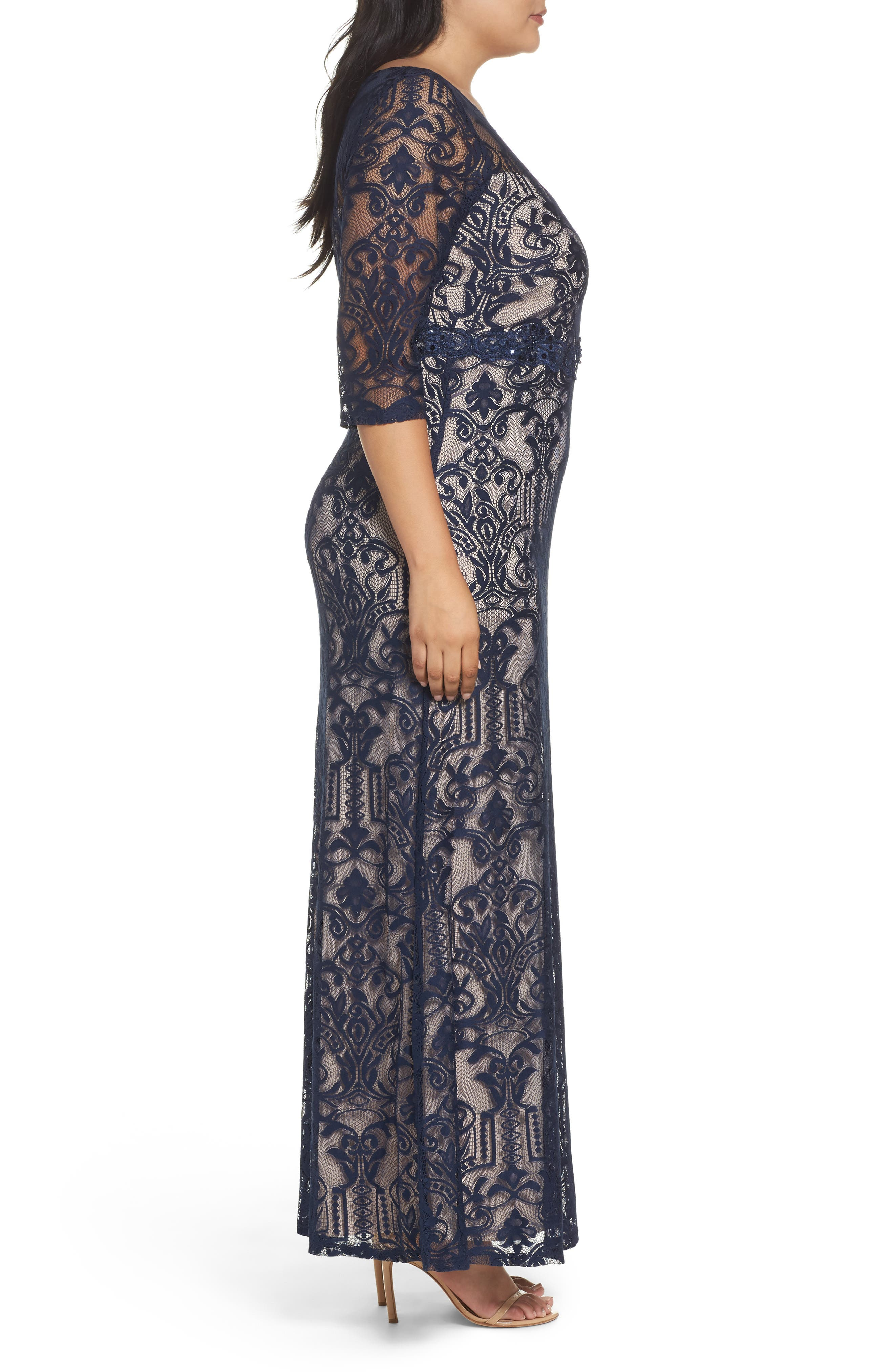 A-Line Lace Gown,                             Alternate thumbnail 3, color,                             Navy/ Taupe