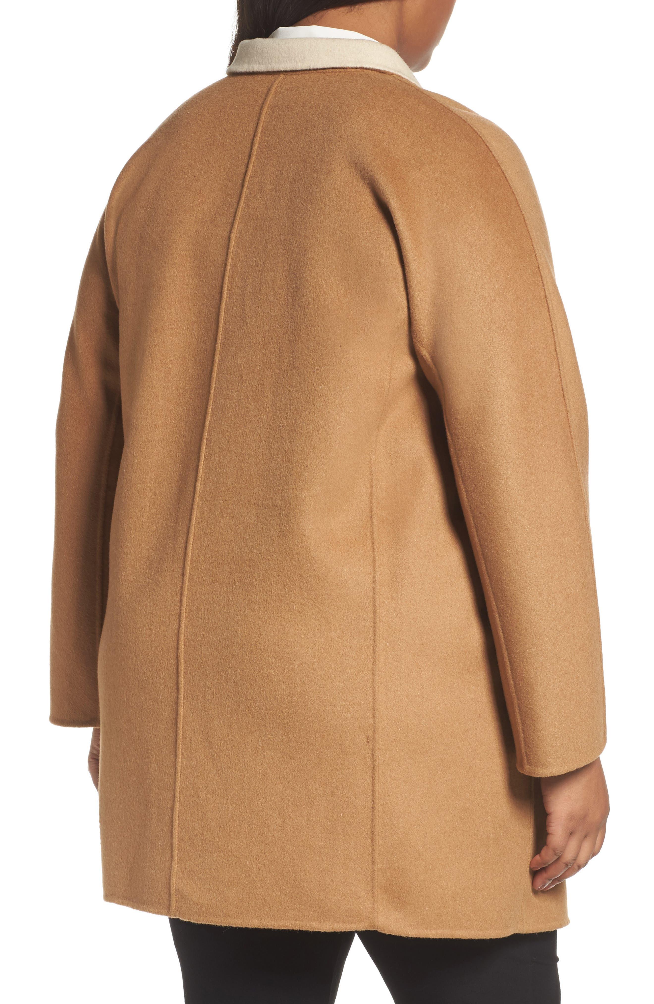 Nina Double Face Wool Blend Coat,                             Alternate thumbnail 2, color,                             Hazelnut