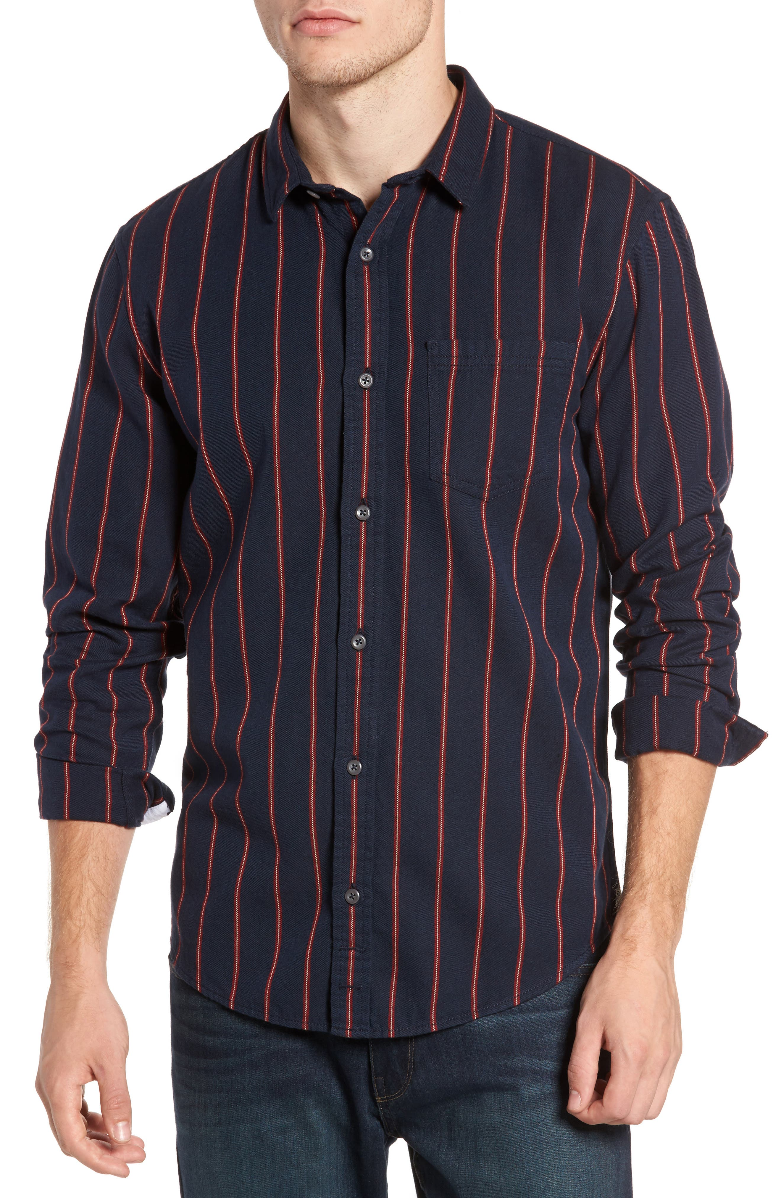 The Rail Long Sleeve Twill Shirt,                         Main,                         color, Navy Peacoat Red Stripe