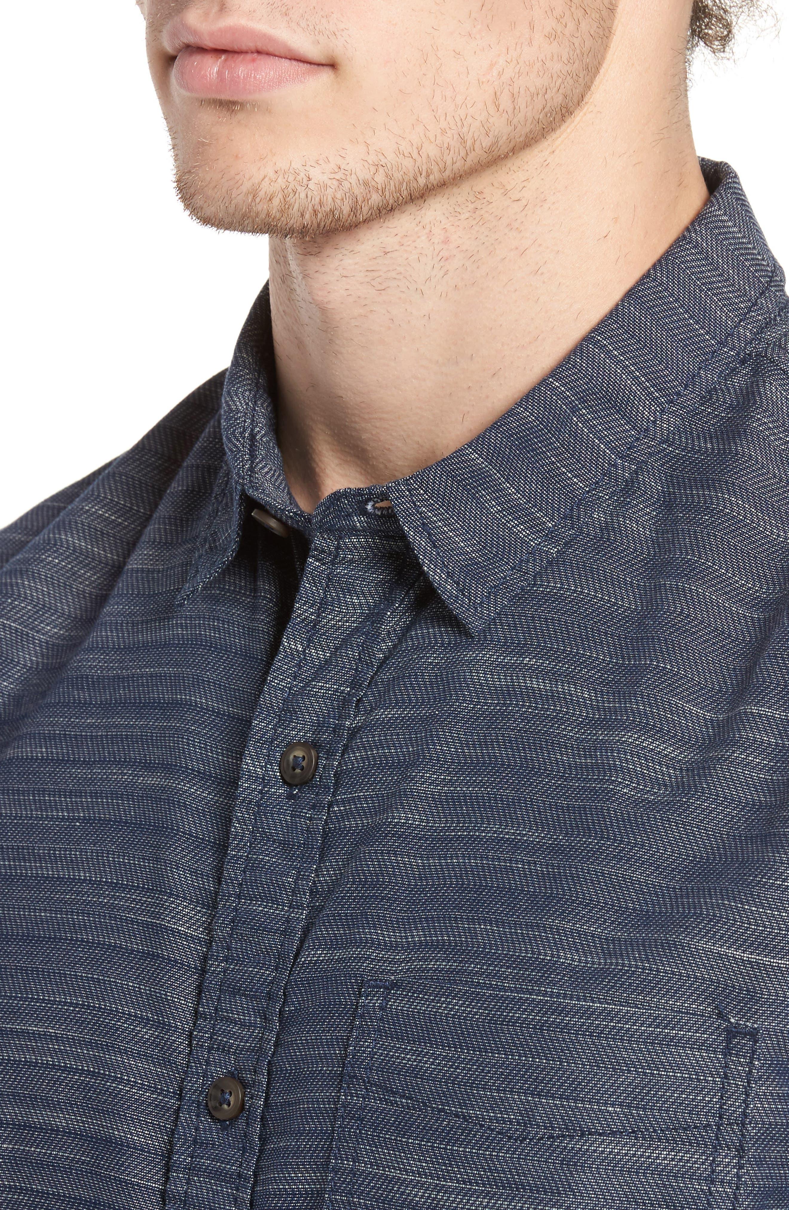 Herringbone Chambray Shirt,                             Alternate thumbnail 4, color,                             Navy Charcoal Herringbone