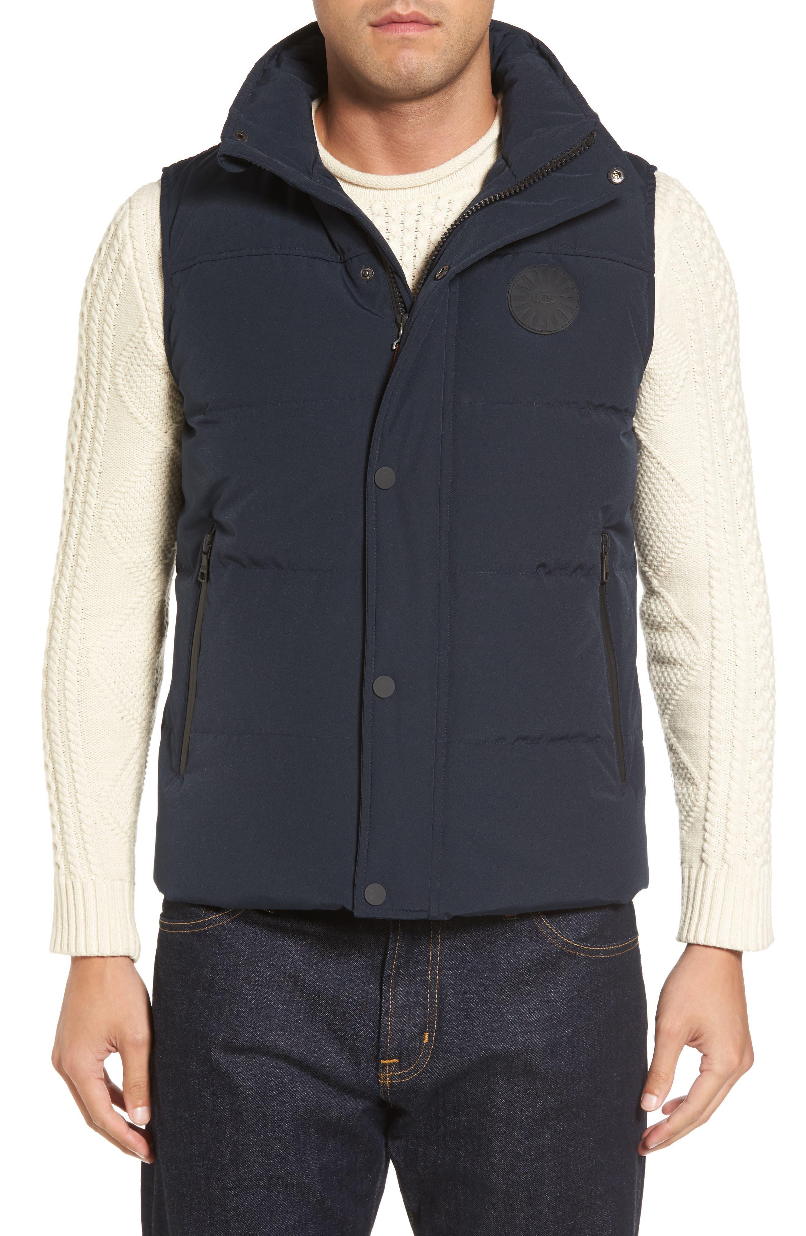 Water-Resistant Down Vest,                             Alternate thumbnail 4, color,                             Navy