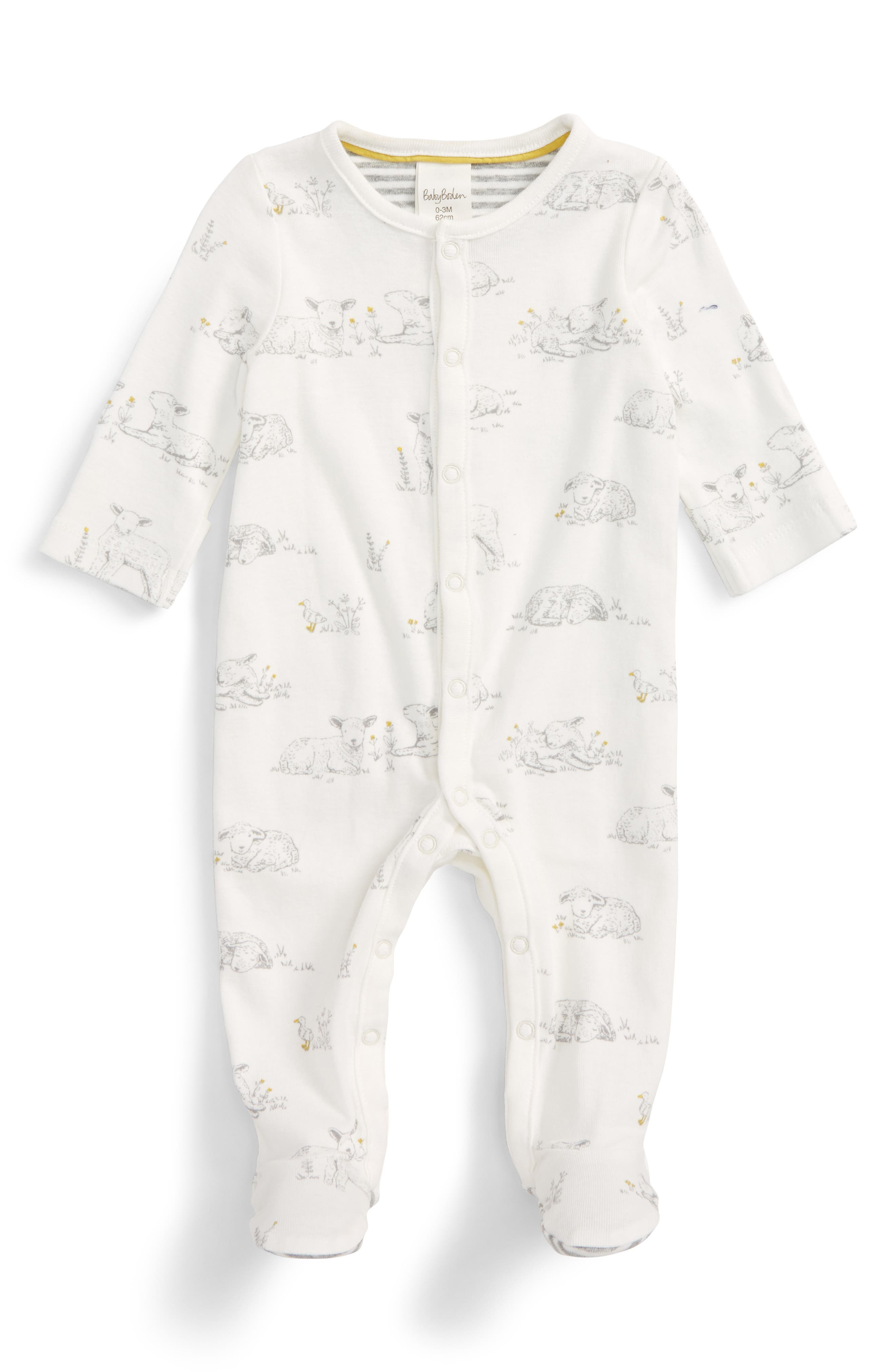 Mini Boden Lamb Print Super Soft Fitted One-Piece Pajamas (Baby)
