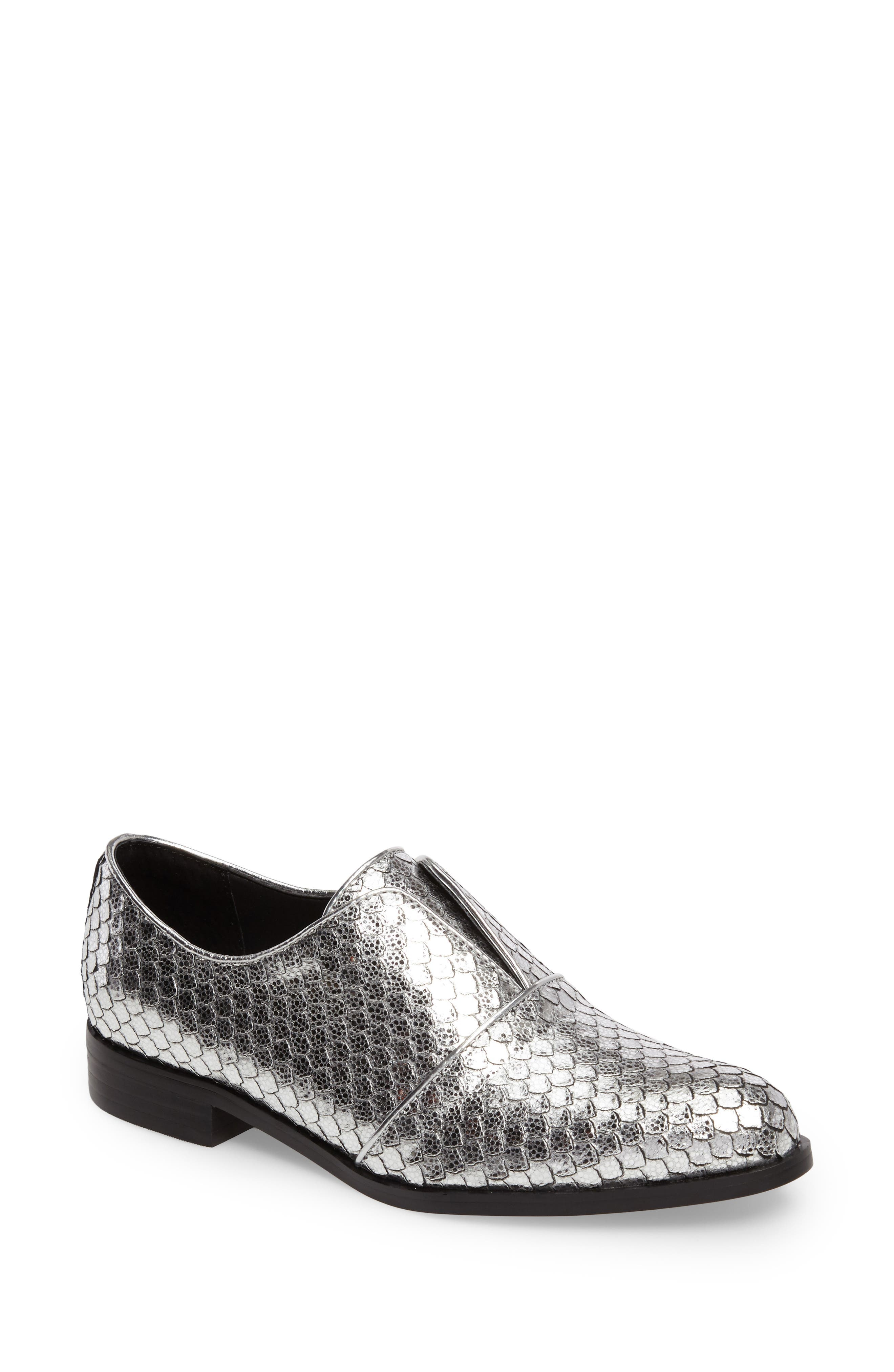 Isola Maria Slip-On Oxford,                         Main,                         color, Silver Cut Snake Print Leather