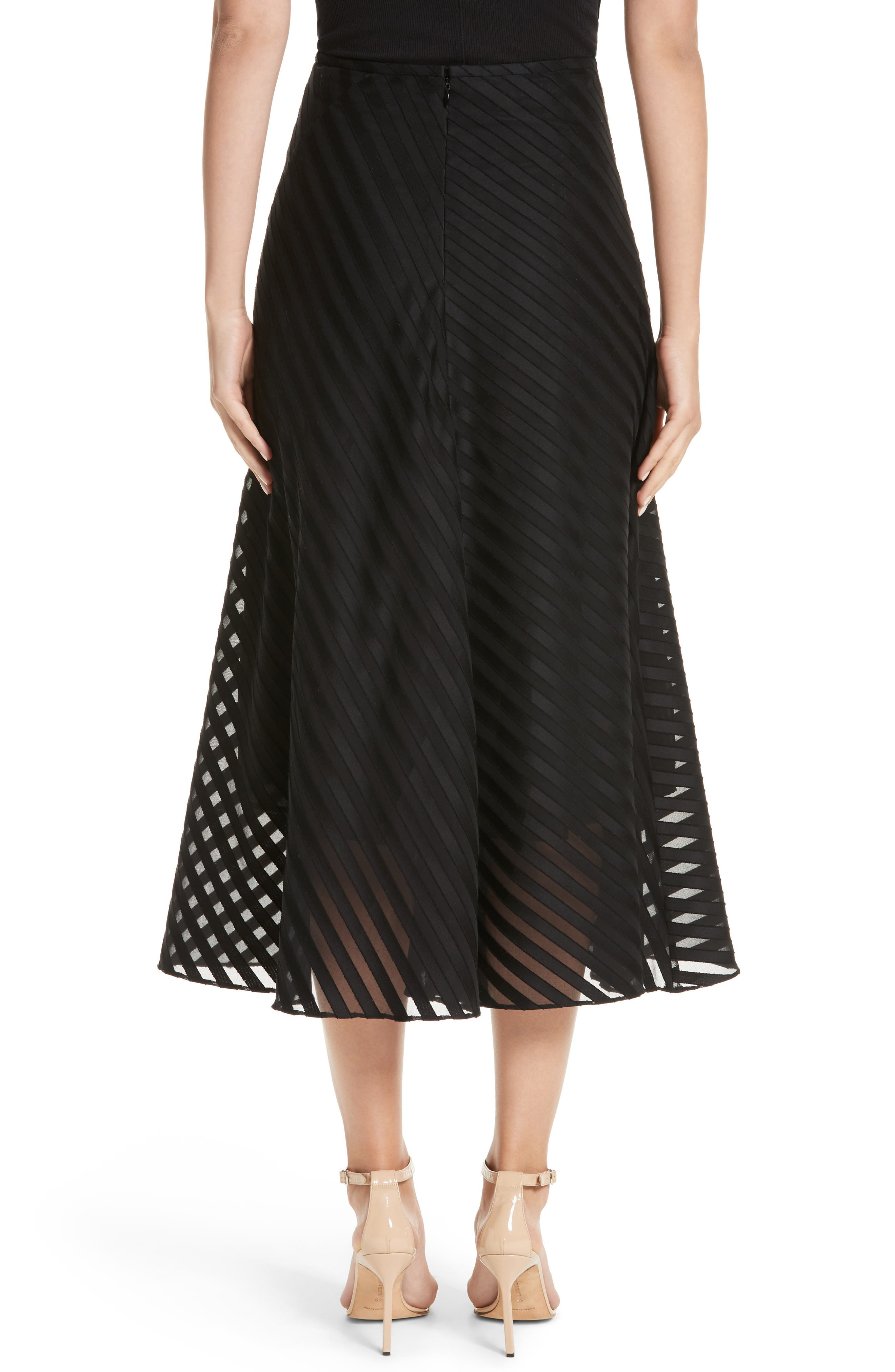 Alternate Image 2  - Akris Diagonal Stripe Cotton Voile Midi Skirt