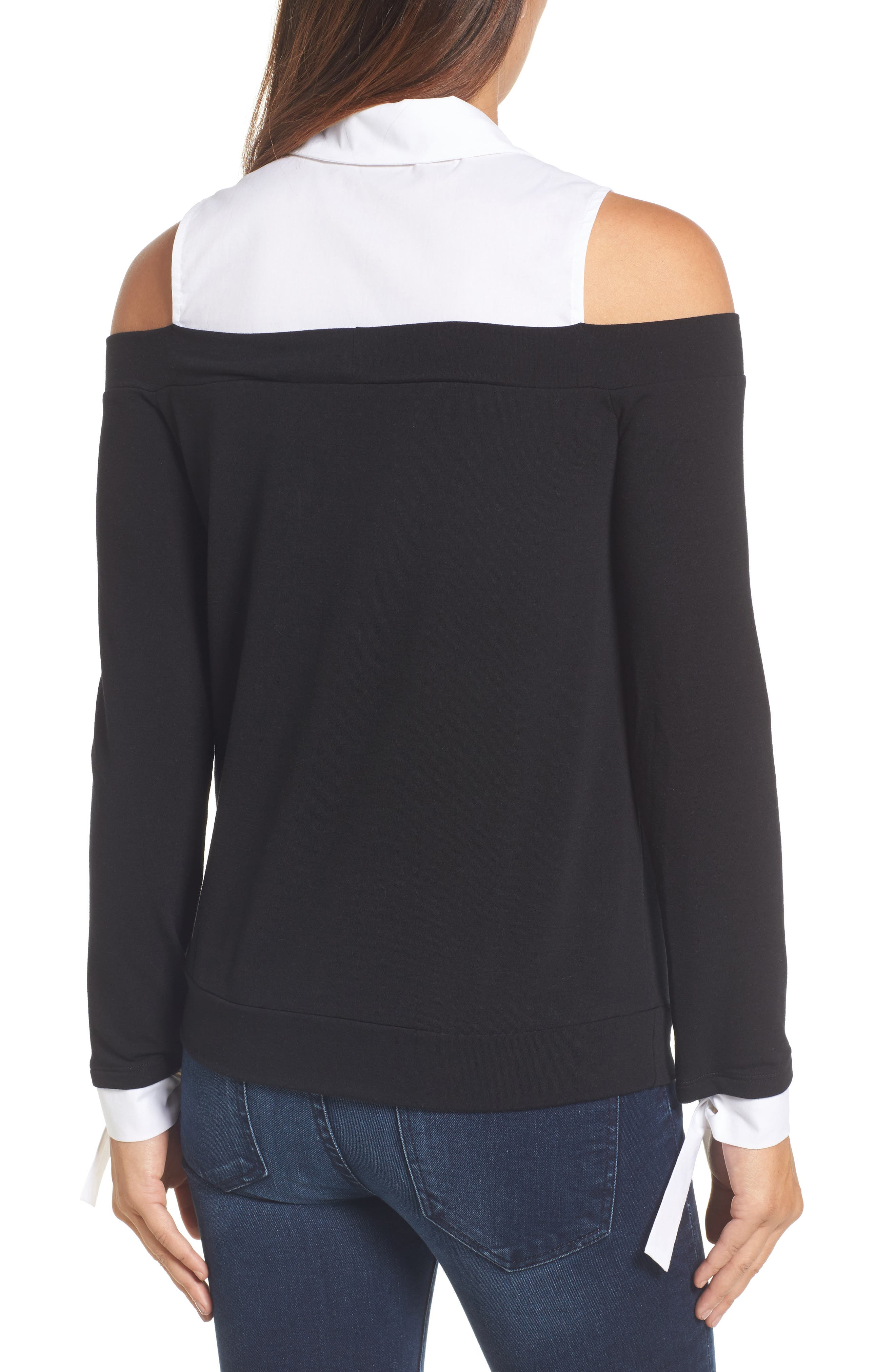 Mixed Media Cold Shoulder Top,                             Alternate thumbnail 2, color,                             Black/ White