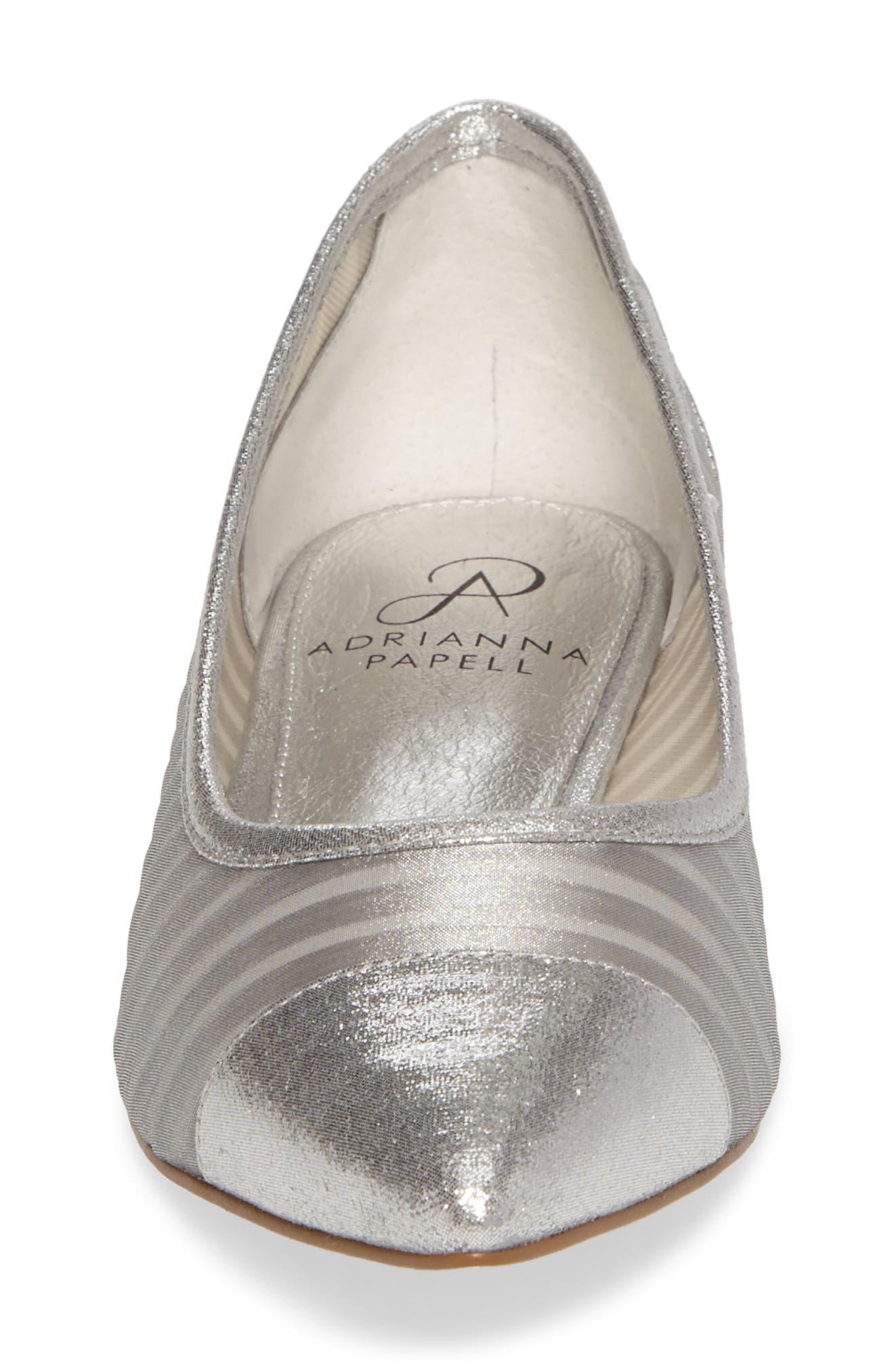 Tiffany Pointy Toe Flat,                             Alternate thumbnail 4, color,                             Silver Fabric