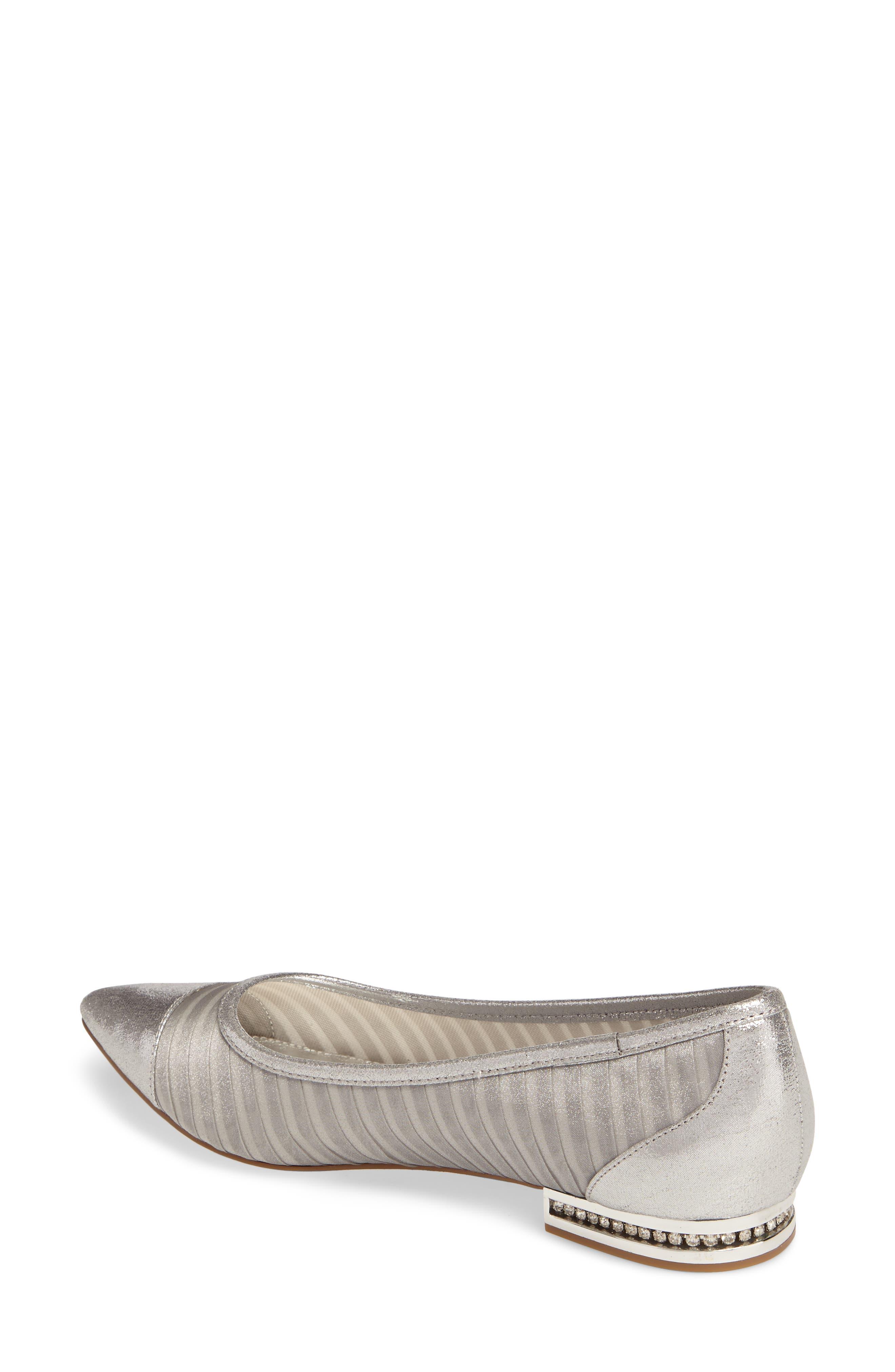 Tiffany Pointy Toe Flat,                             Alternate thumbnail 2, color,                             Silver Fabric