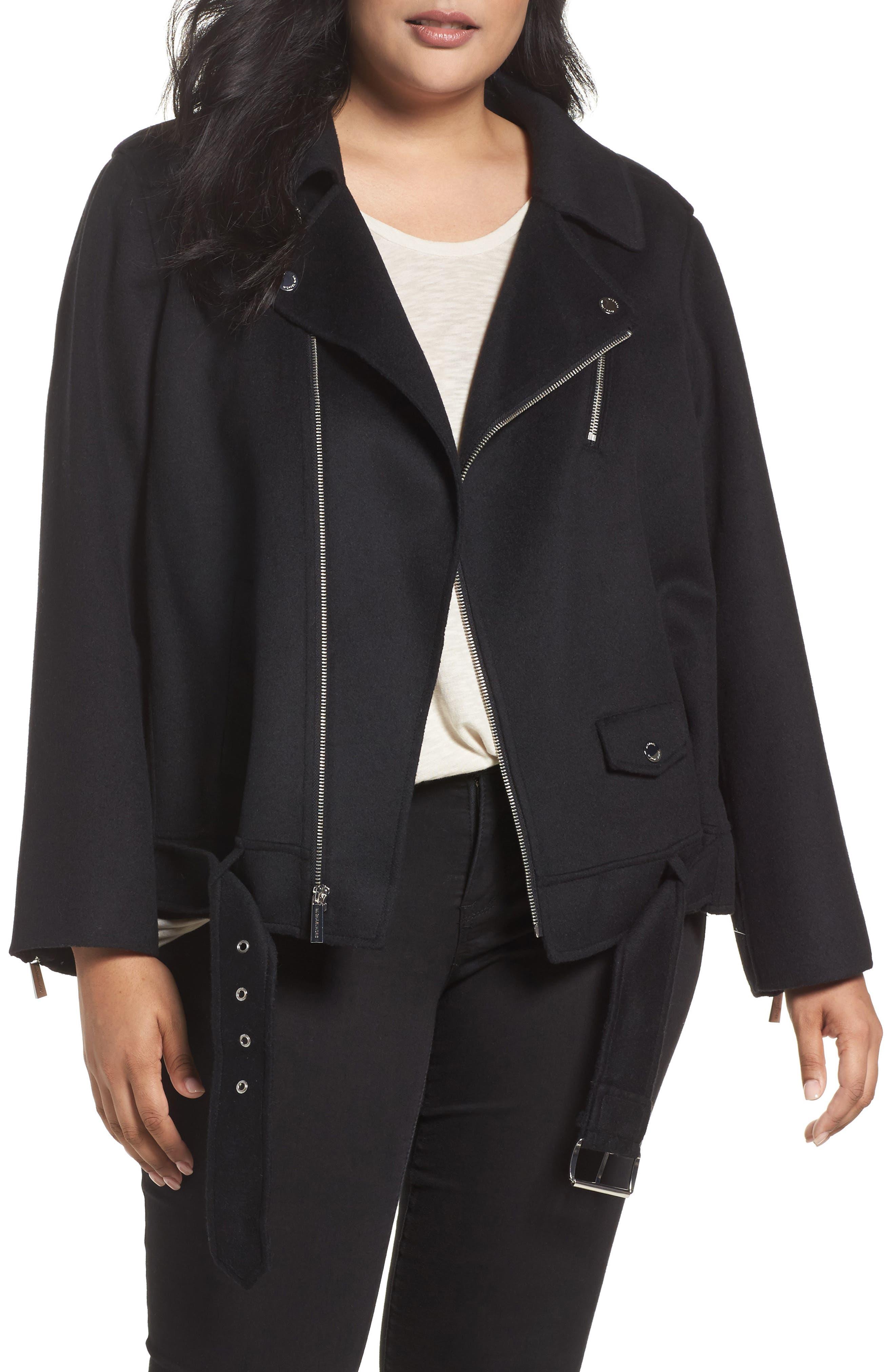 Wool Blend Moto Jacket,                         Main,                         color, Black