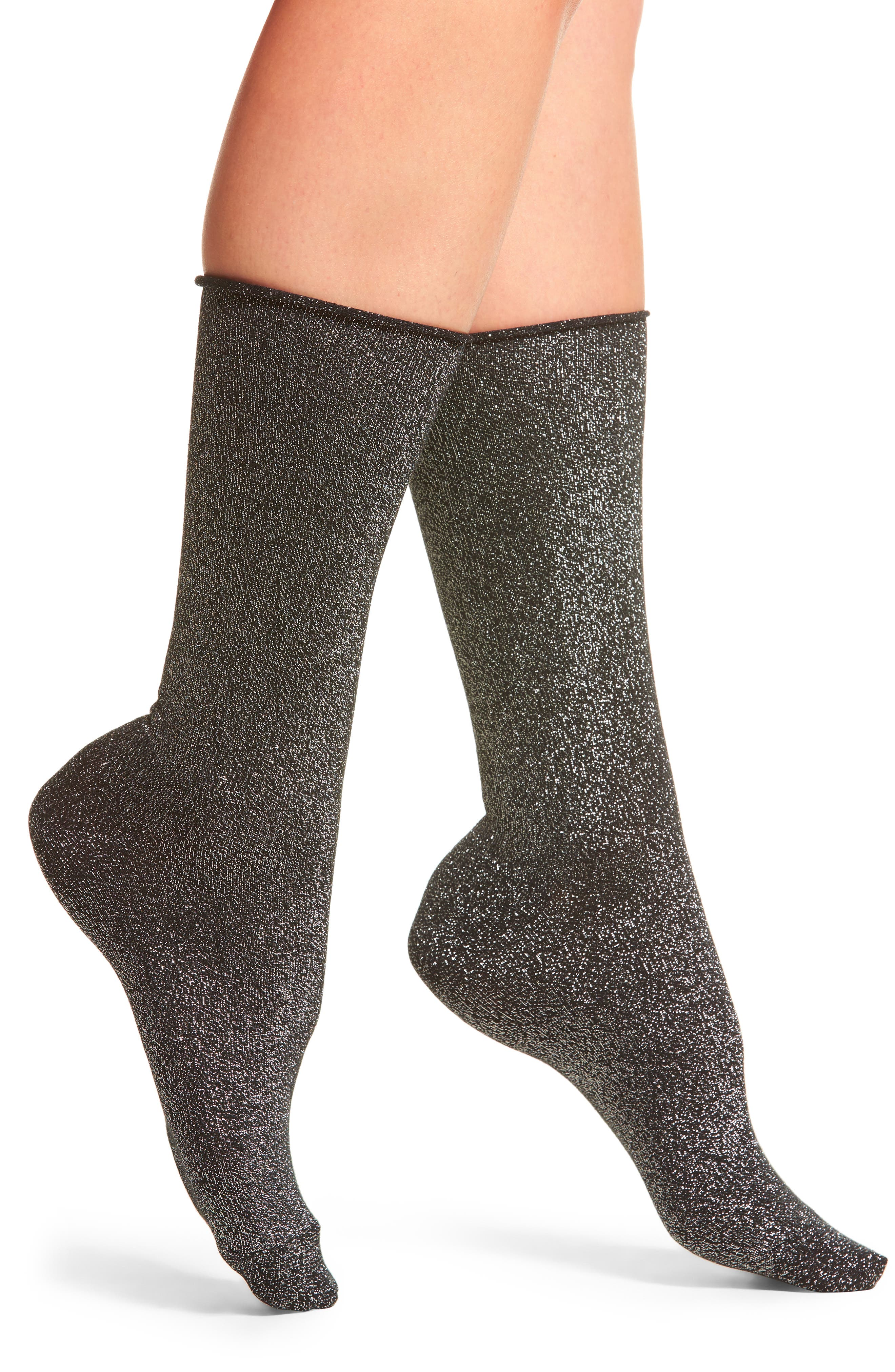 Hue Metallic Roll Top Socks