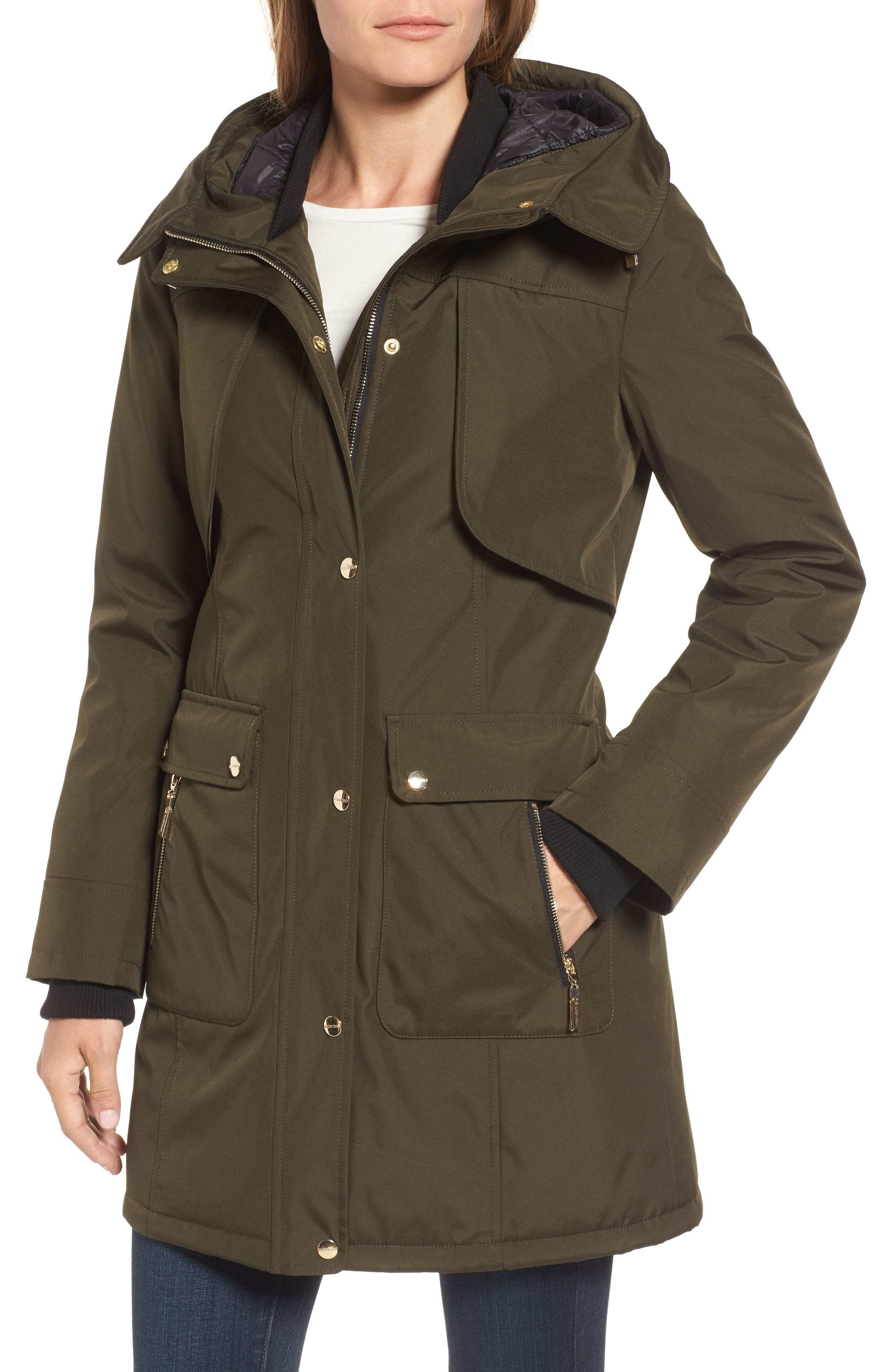 Quilted Techno Parka,                             Alternate thumbnail 4, color,                             Olive