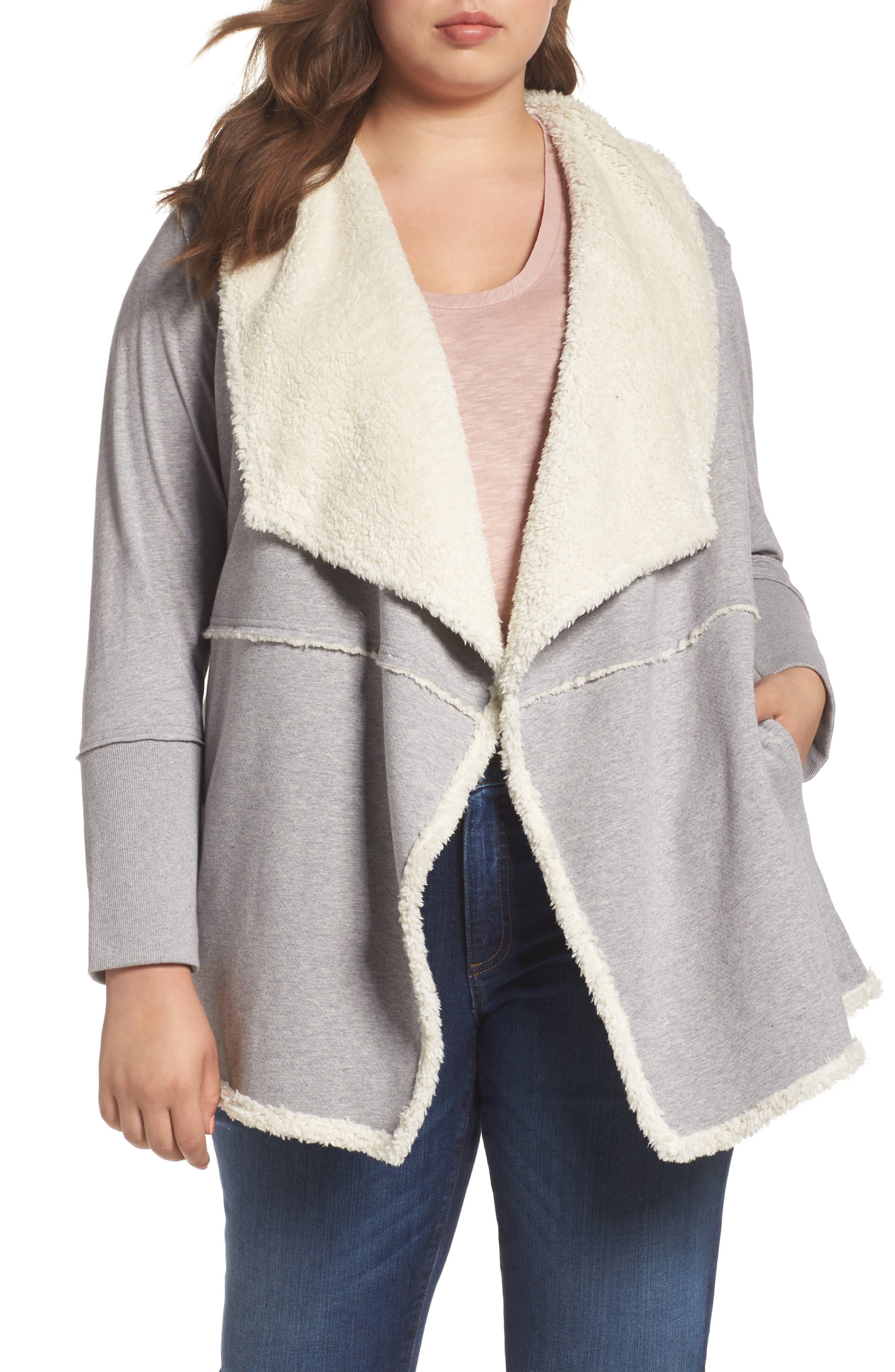 Caslon® Faux Fur Jacket (Plus Size)