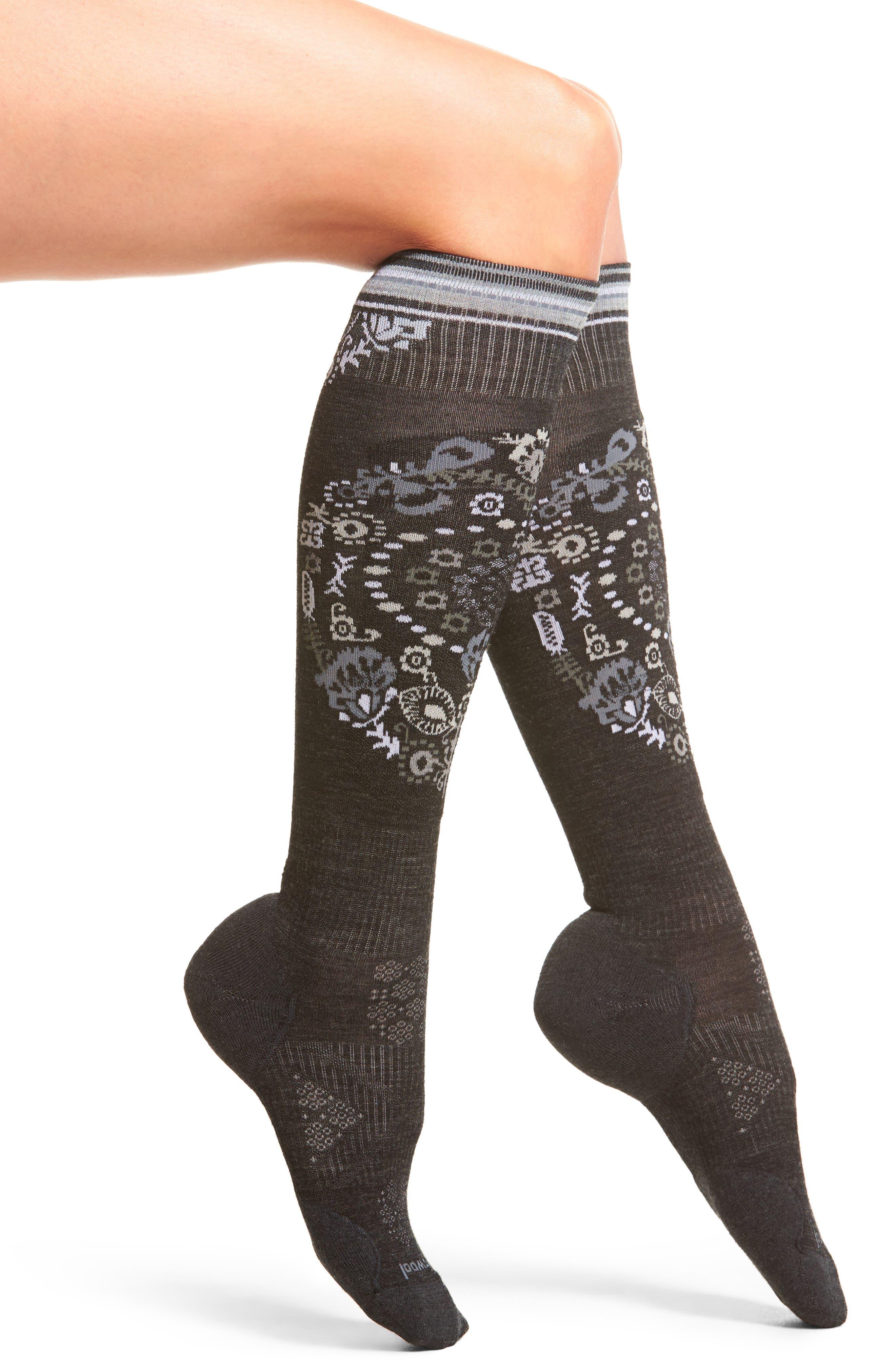 PhD<sup>®</sup> Ski Light Elite Paisley Socks,                         Main,                         color, Charcoal