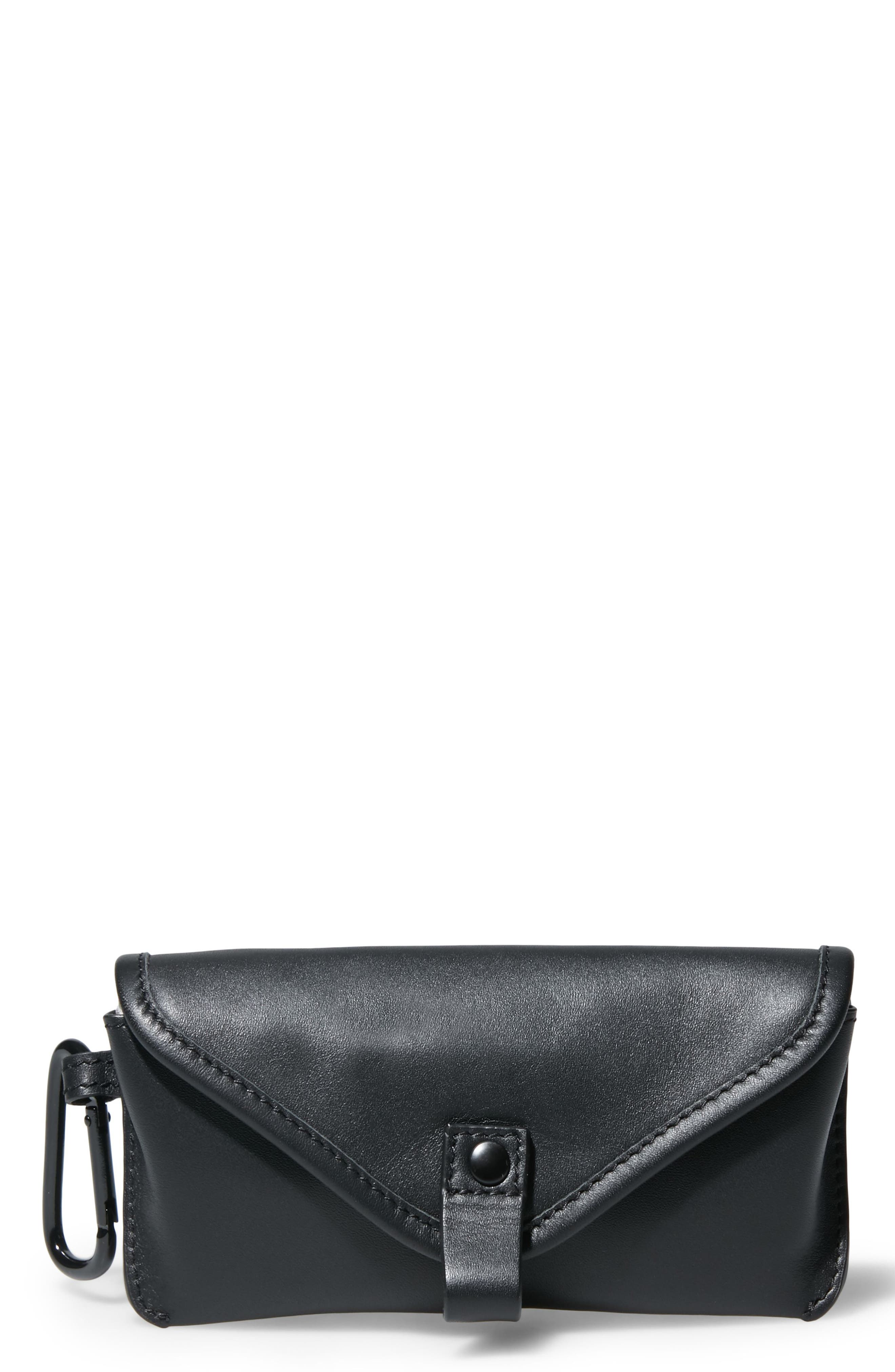 GQ x Steve Madden Leather Sunglasses Case,                         Main,                         color, Black