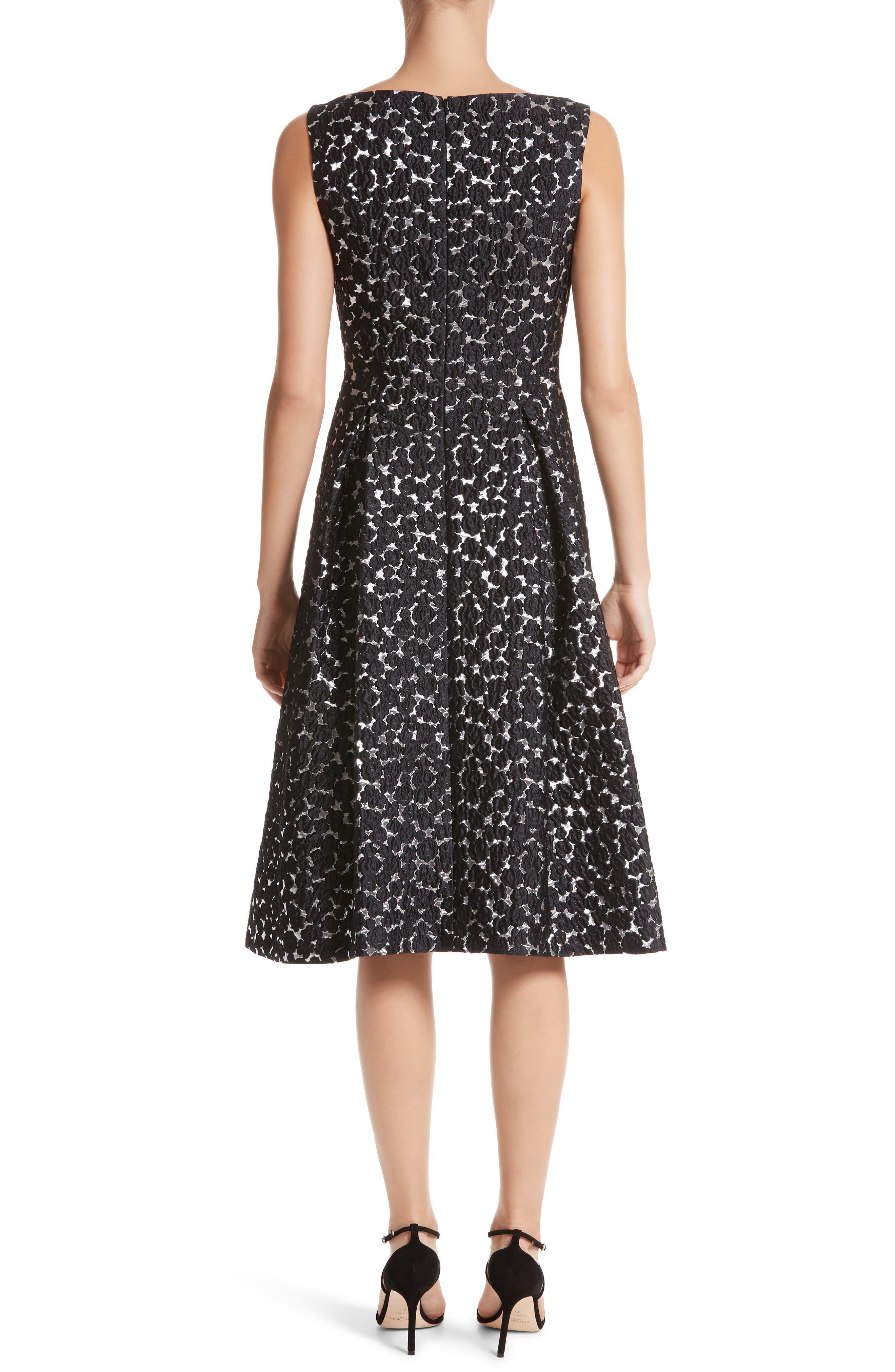 Floral Matelassé A-Line Dress,                             Alternate thumbnail 2, color,                             Black / Silver