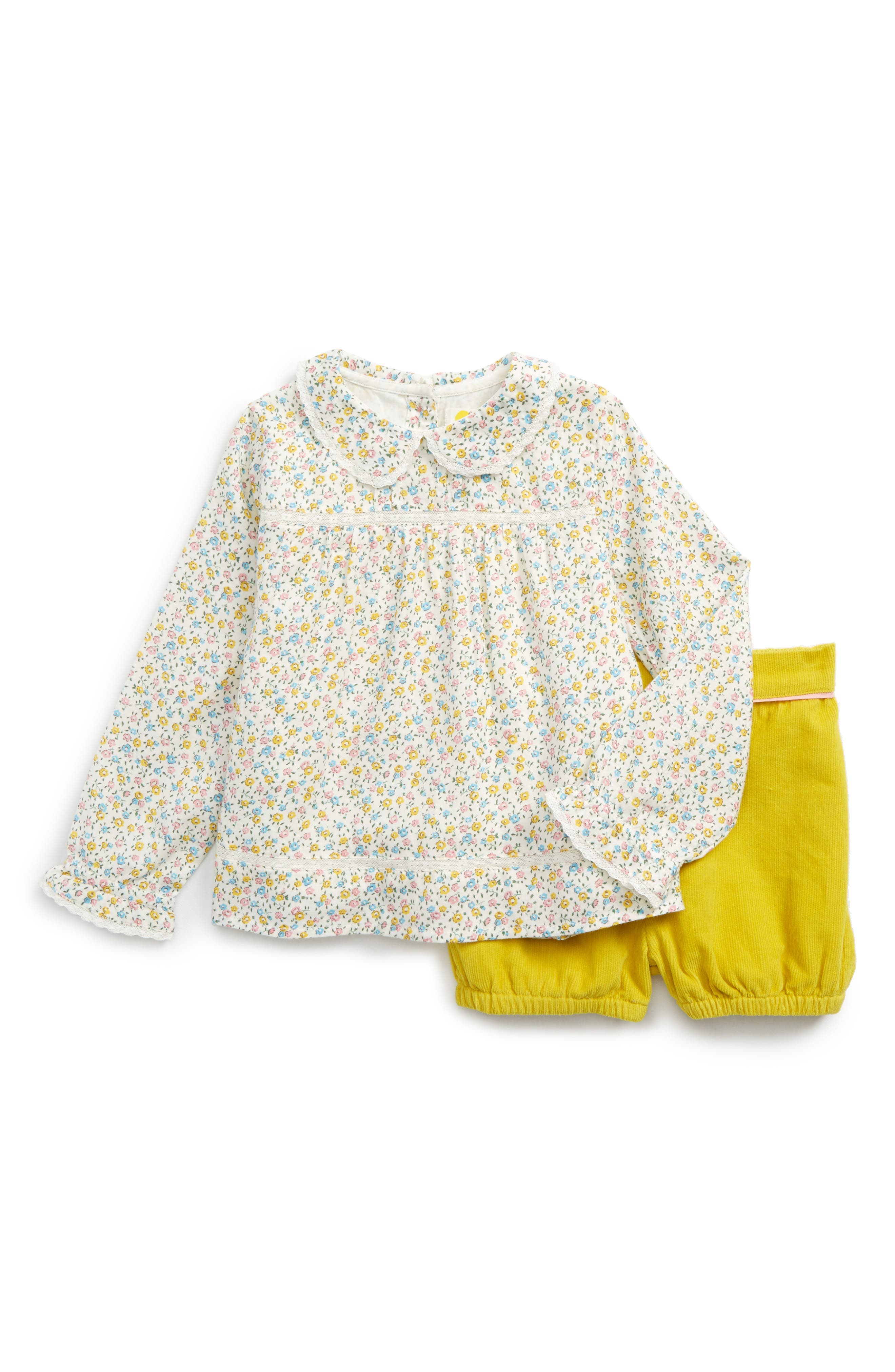 Mini Boden Woodland Top & Shorts Set (Baby Girls & Toddler Girls)