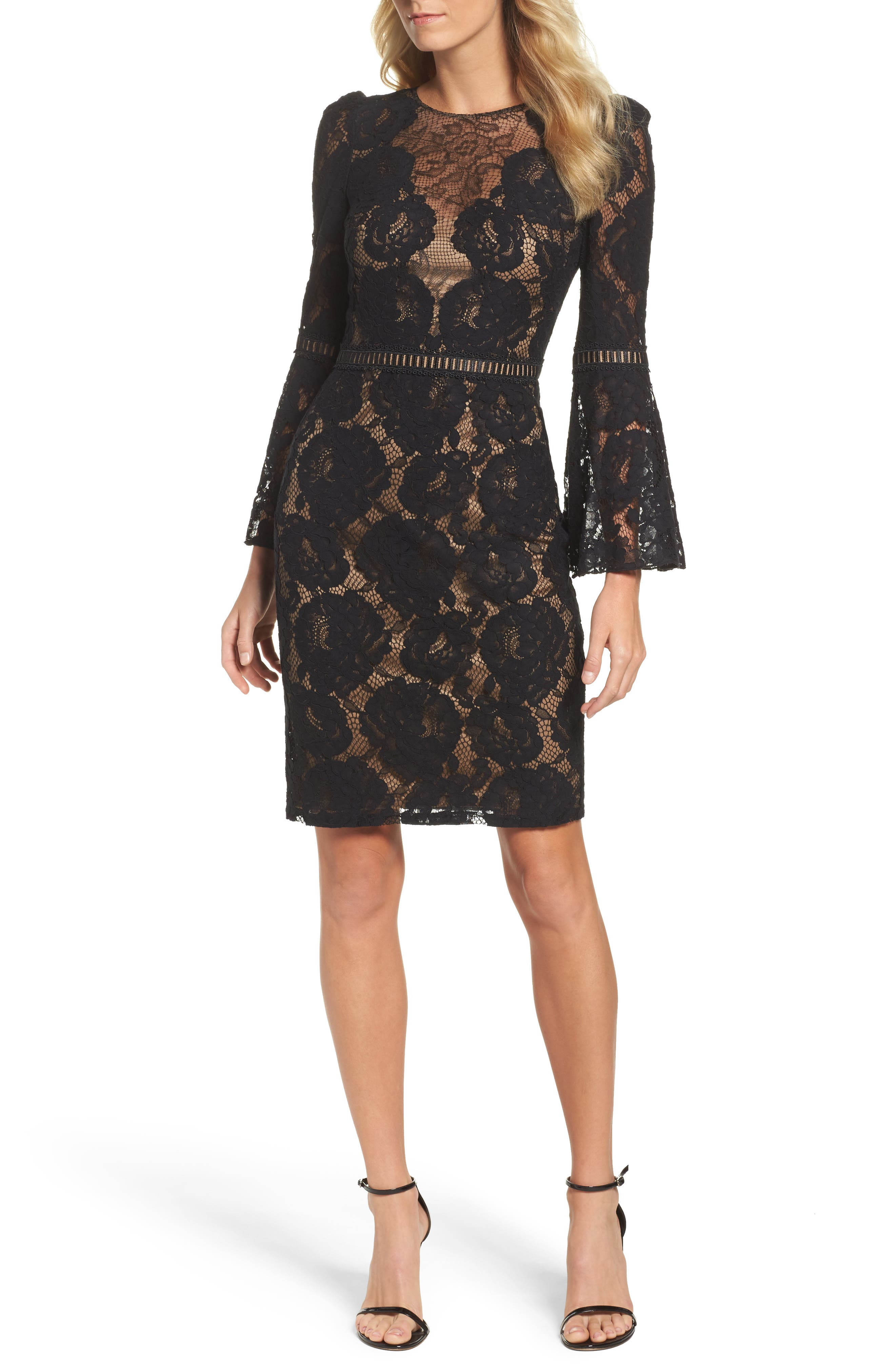 Lace Bell Sleeve Dress,                             Main thumbnail 1, color,                             Black/ Nude