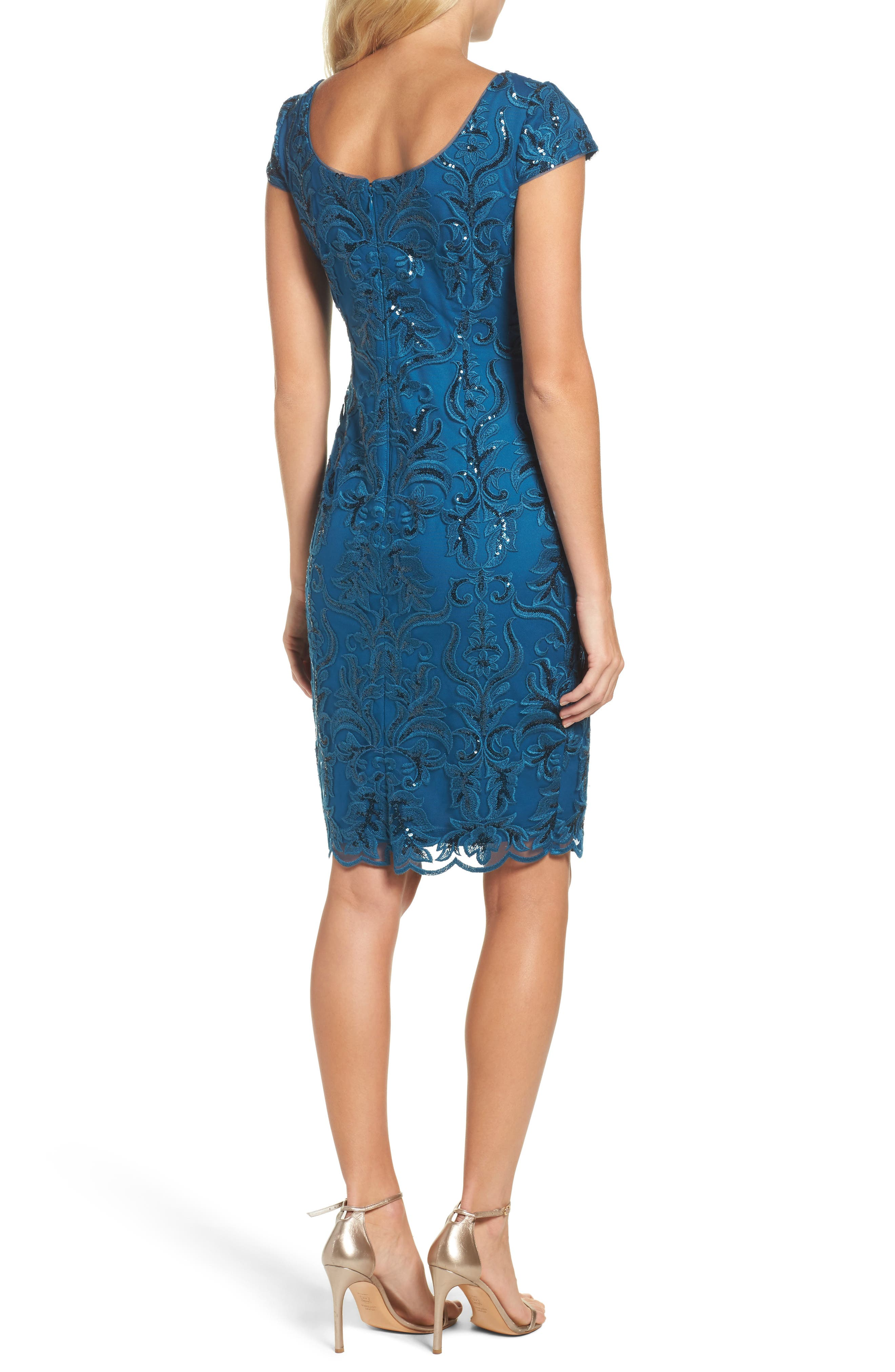 Sequin Embroidered Sheath Dress,                             Alternate thumbnail 2, color,                             Evening Sky
