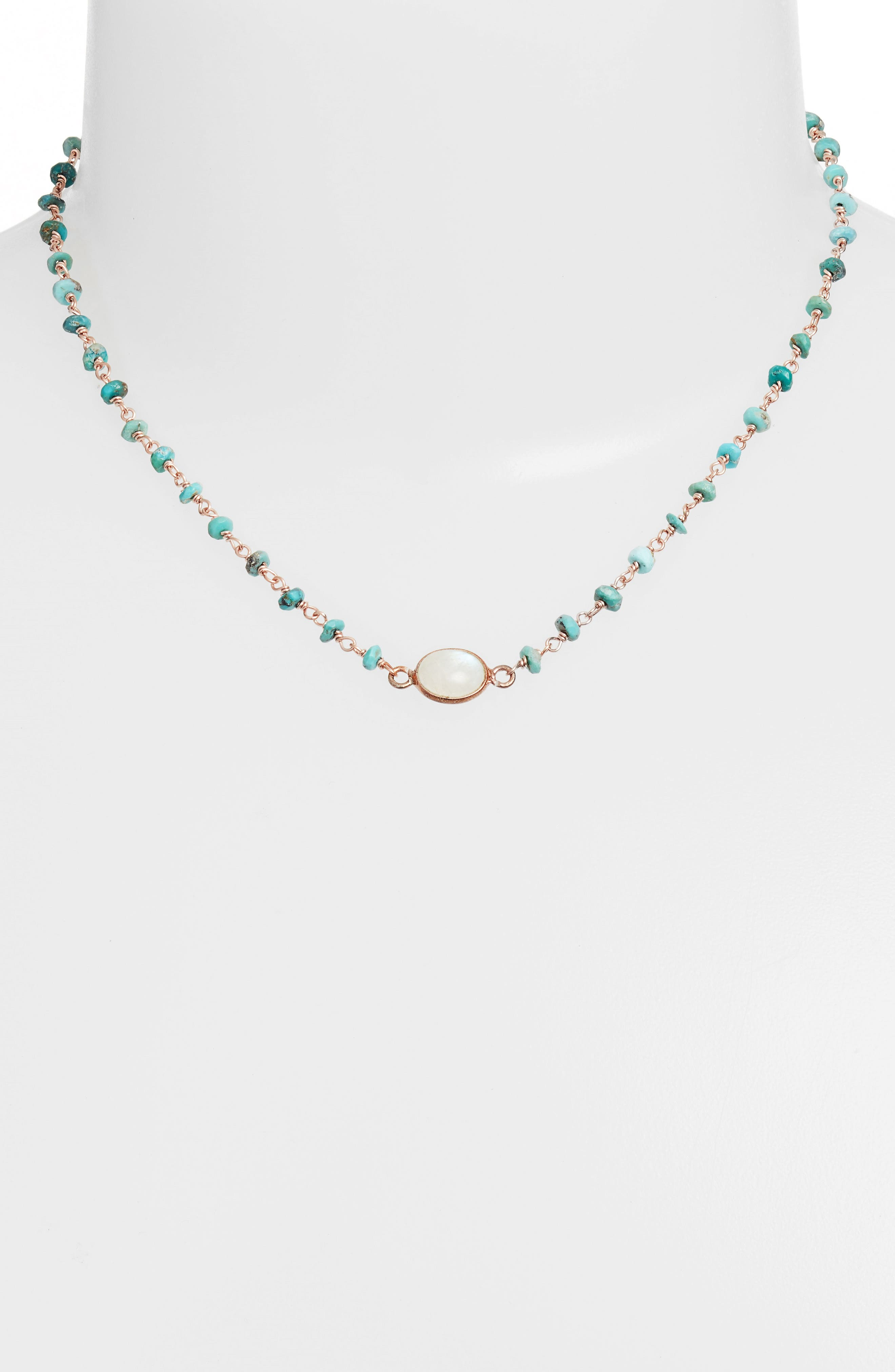 Semiprecious Stone Collar Necklace,                             Alternate thumbnail 2, color,                             Turquoise/ Moonstone