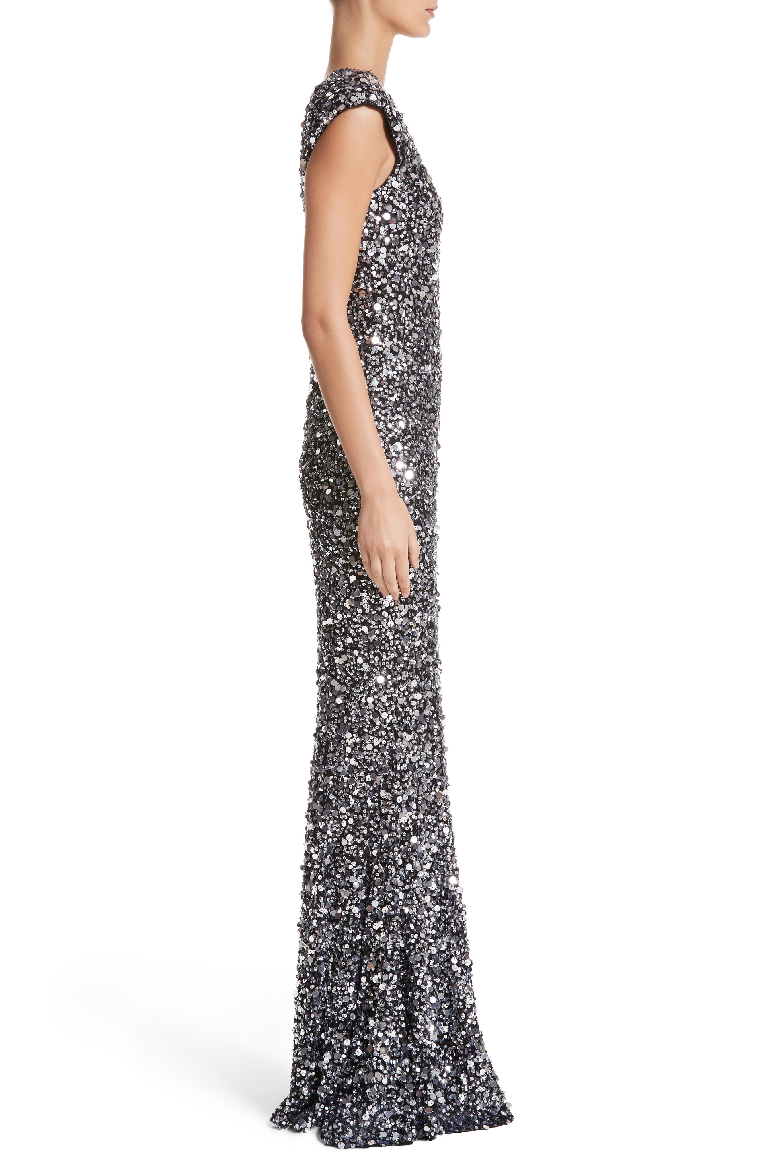 Hand Embellished Sequin Gown,                             Alternate thumbnail 6, color,                             Black/ Silver