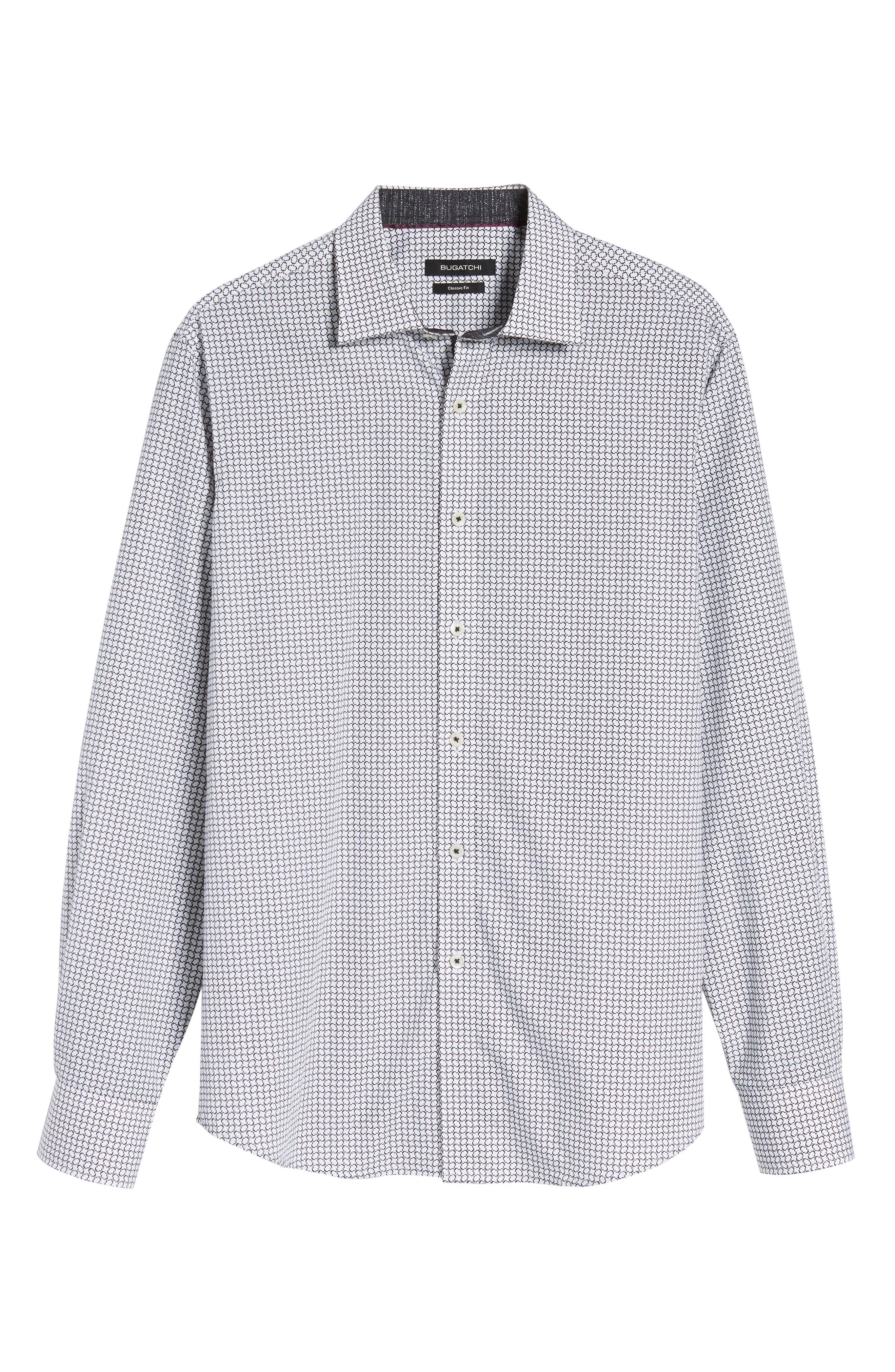 Classic Fit Print Sport Shirt,                             Alternate thumbnail 6, color,                             White