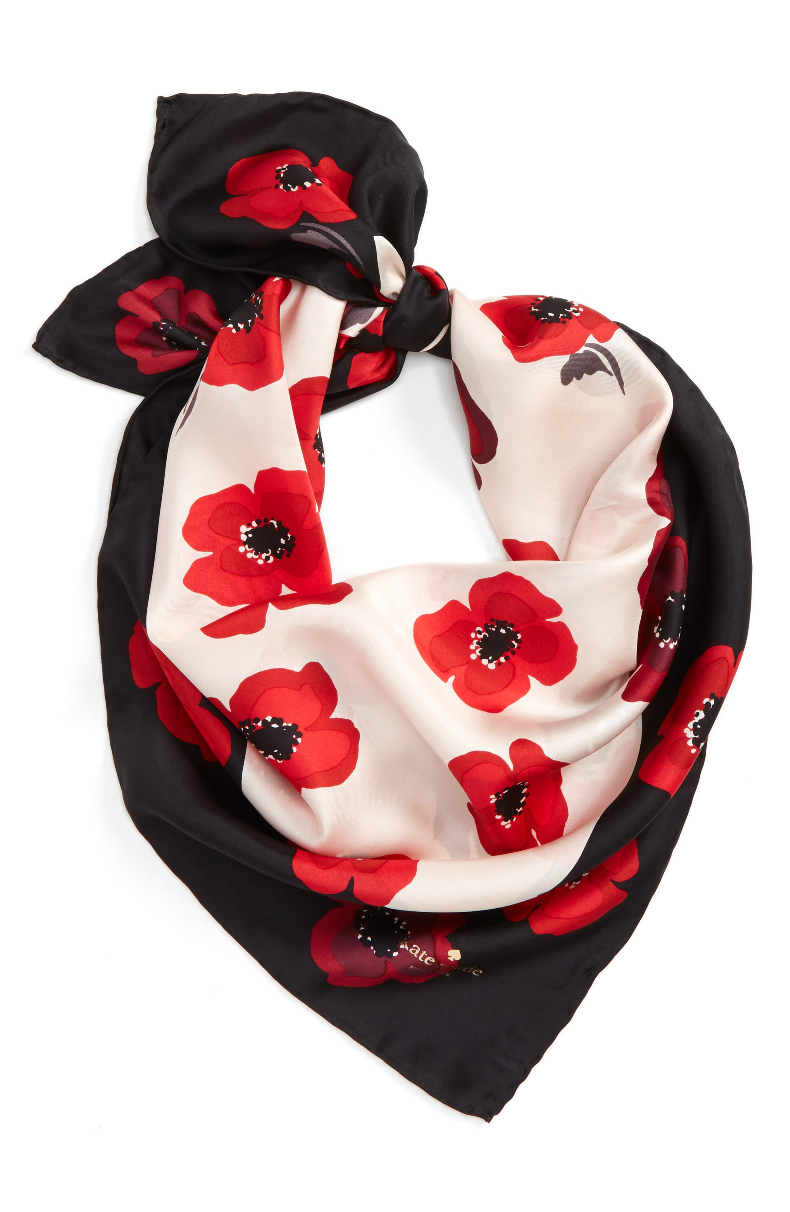 kate spade new york falling poppy silk scarf