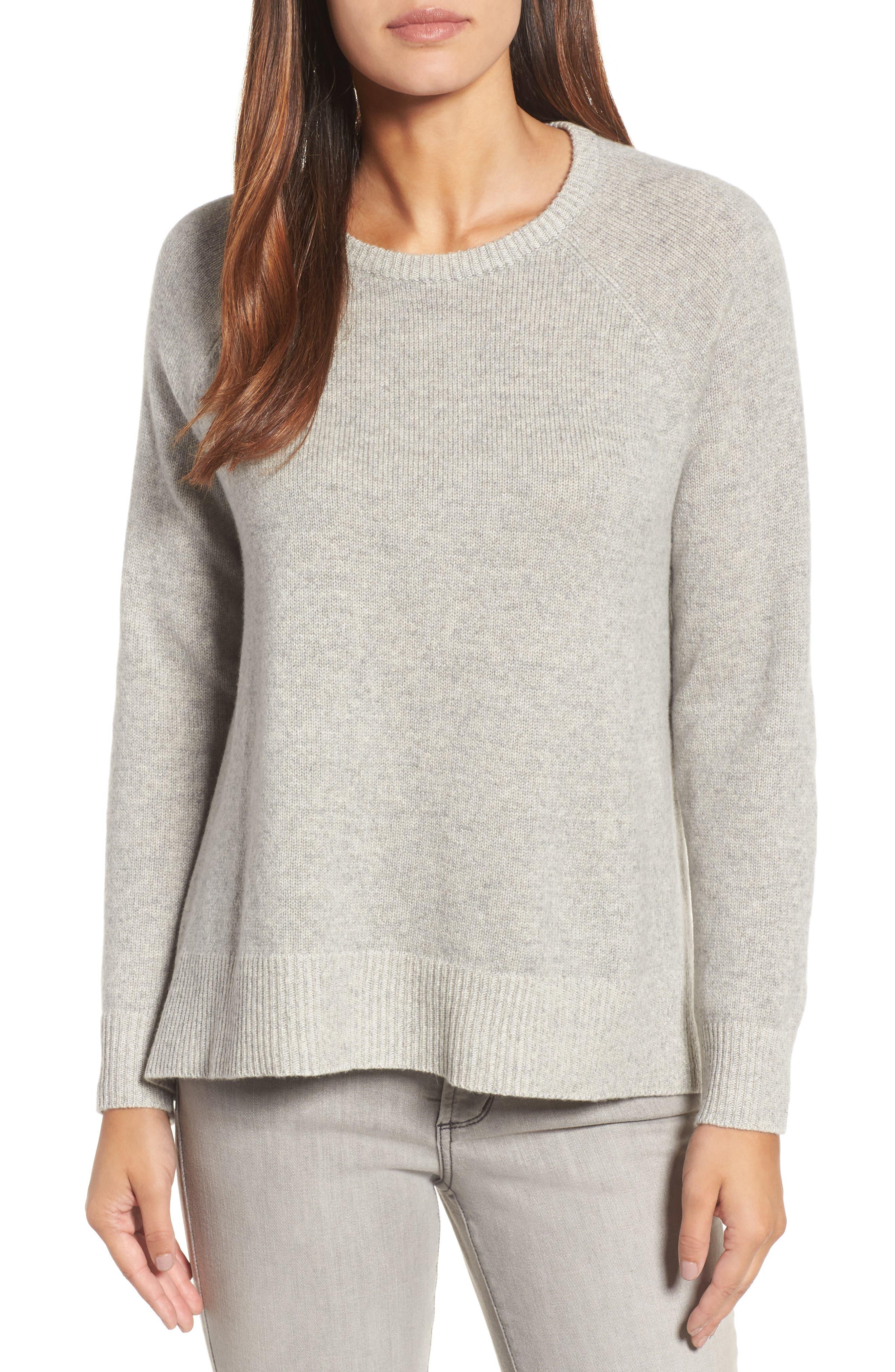 Cashmere Blend Sweater,                         Main,                         color, Dark Pearl/ Soft White