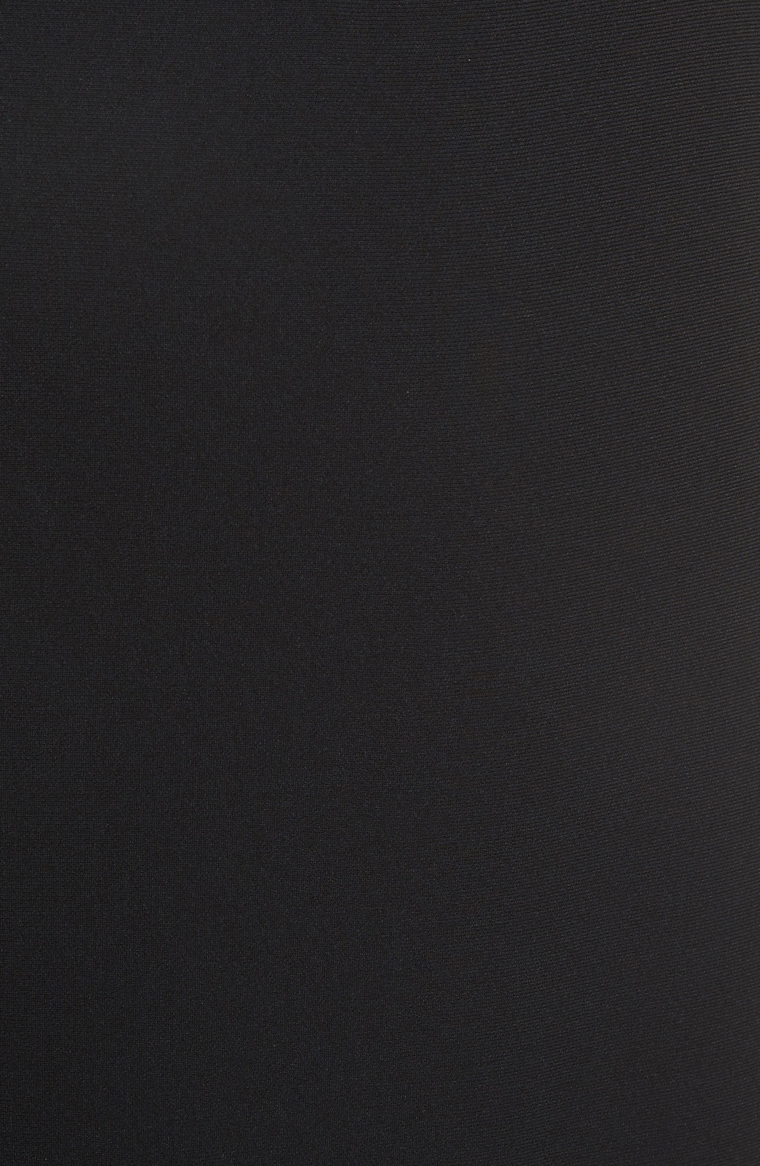 Drape Hem Midi Skirt,                             Alternate thumbnail 5, color,                             Black