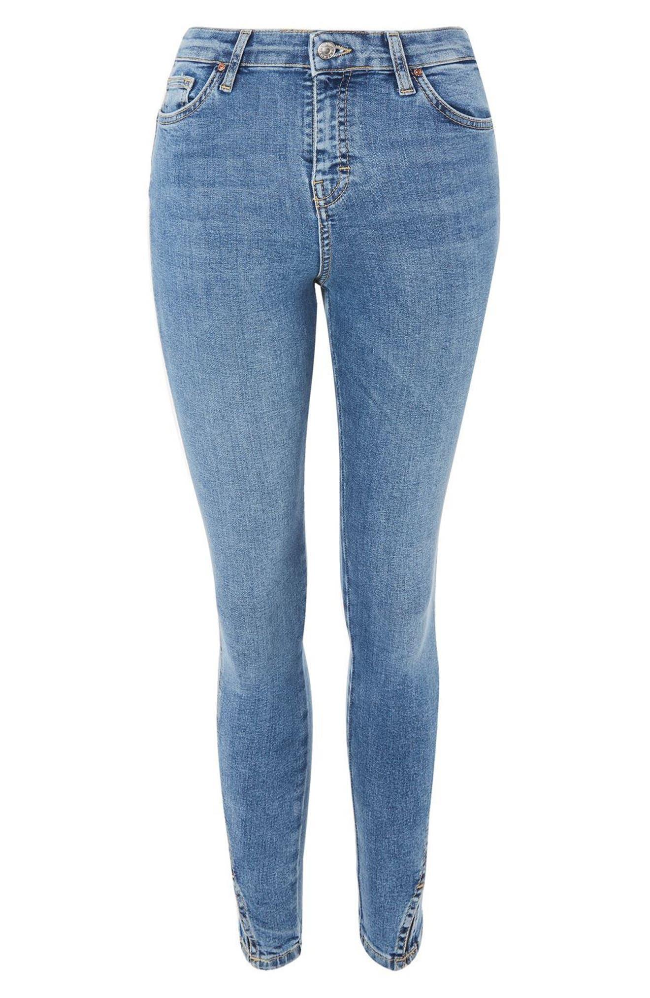 Jamie Twist Hem Skinny Jeans,                             Alternate thumbnail 3, color,                             Mid Denim