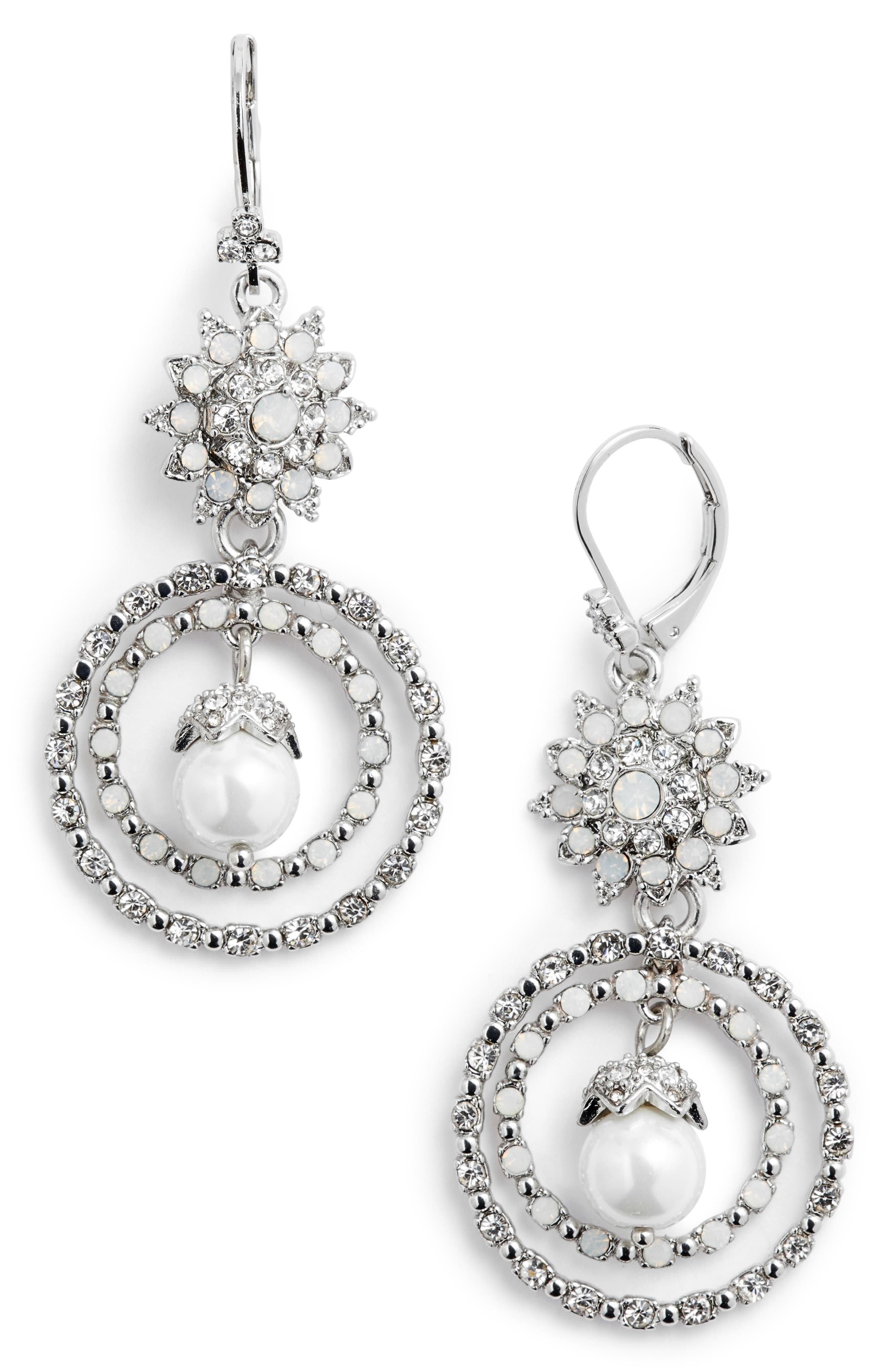 MARCHESA Orbital Crystal Drop Earrings