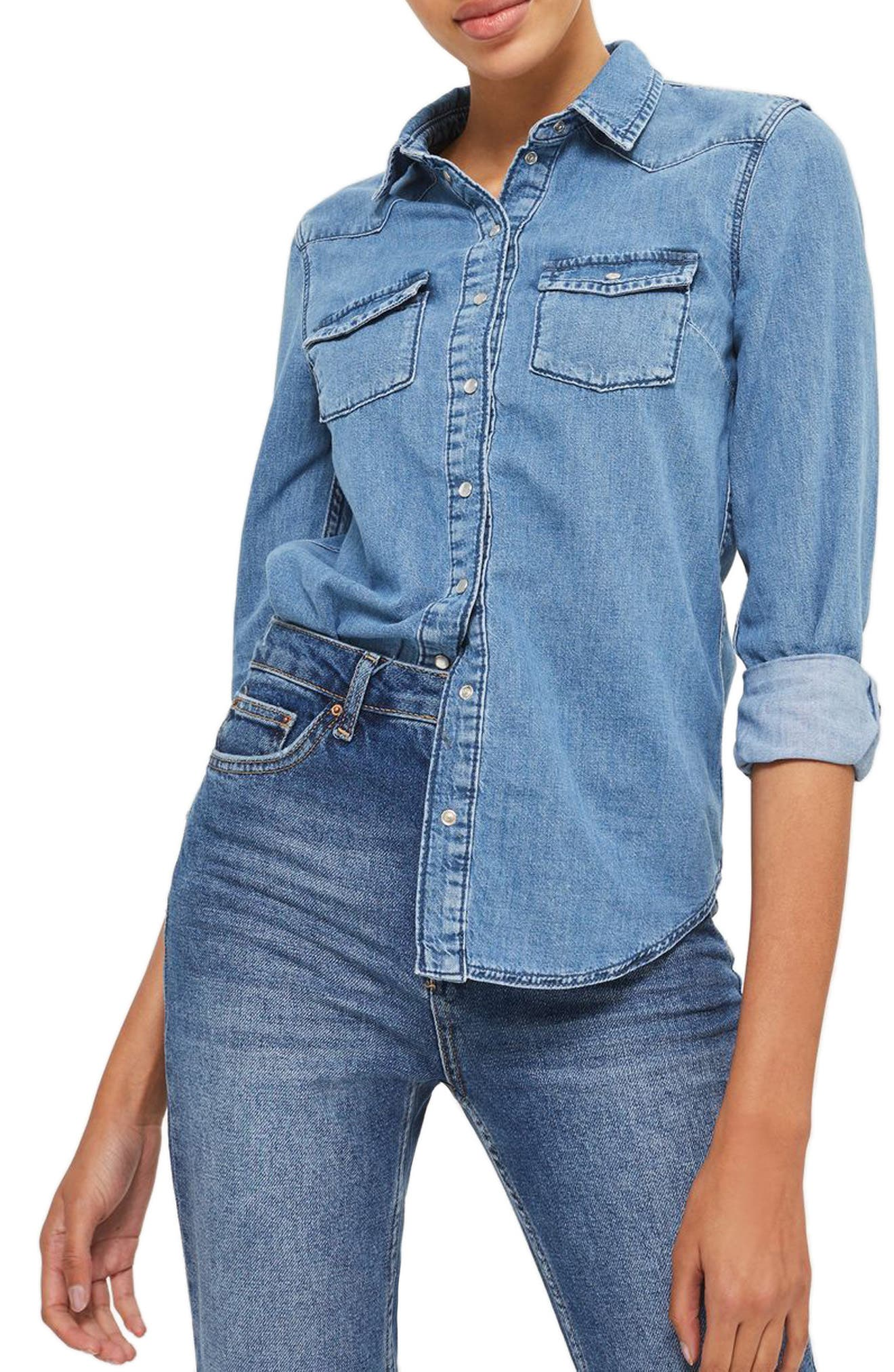 Fitted Western Shirt,                         Main,                         color, Mid Denim
