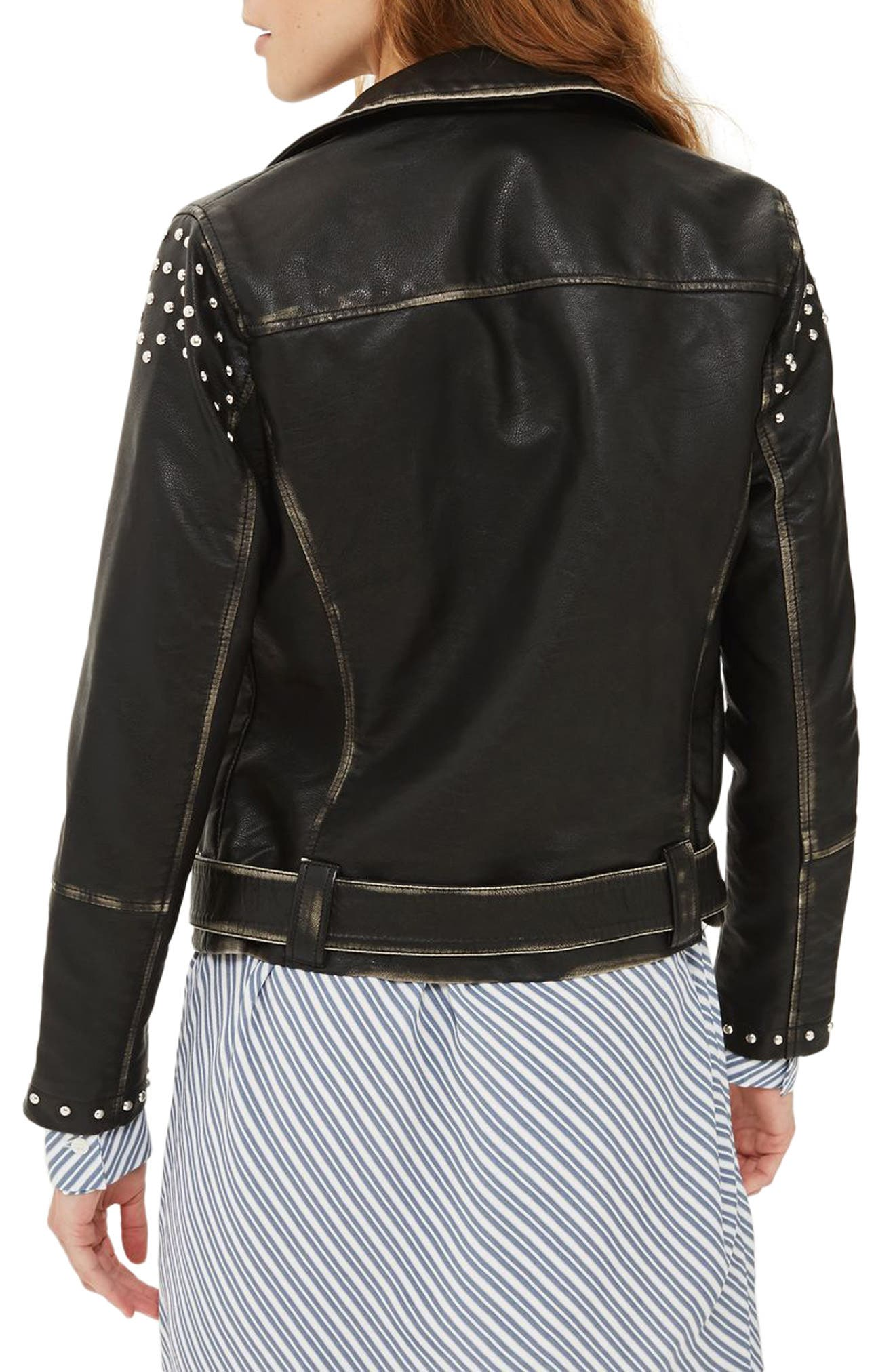 Alternate Image 2  - Topshop Naomi Studded Faux Leather Biker Jacket