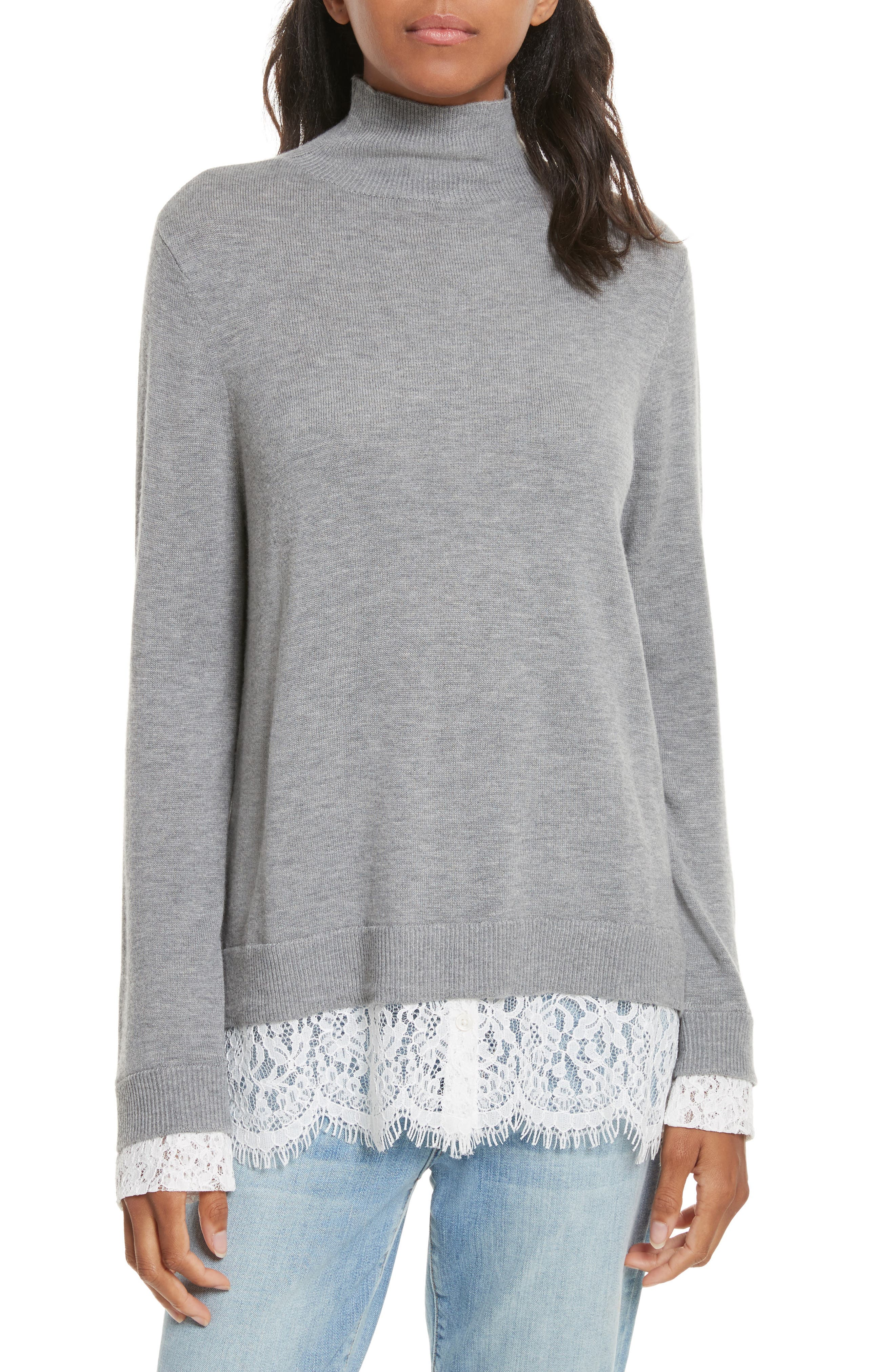 Fredrika Lace Inset Sweater,                         Main,                         color, Heather Grey/ Porcelain