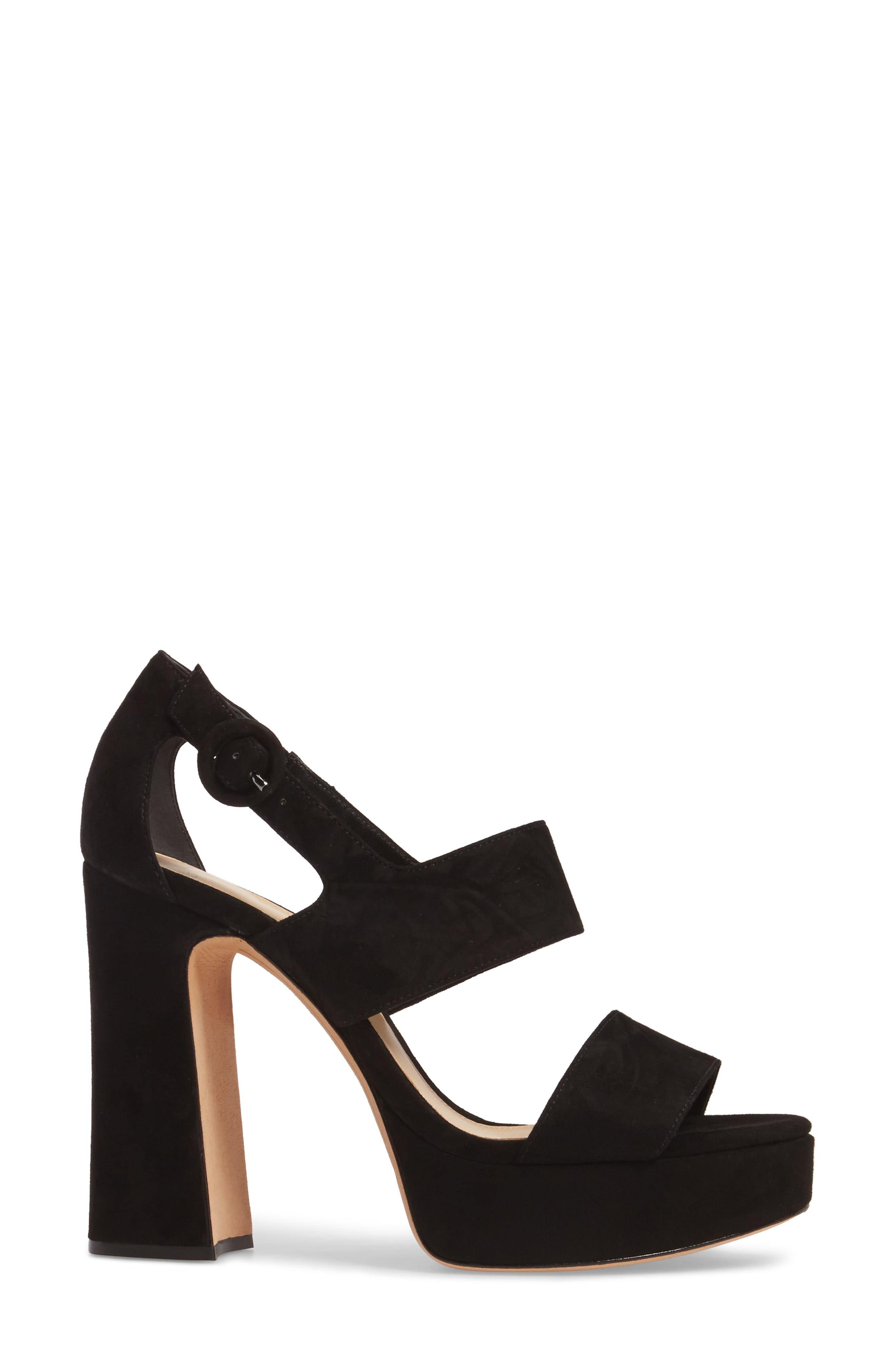 Elouise Platform Sandal,                             Alternate thumbnail 3, color,                             Black