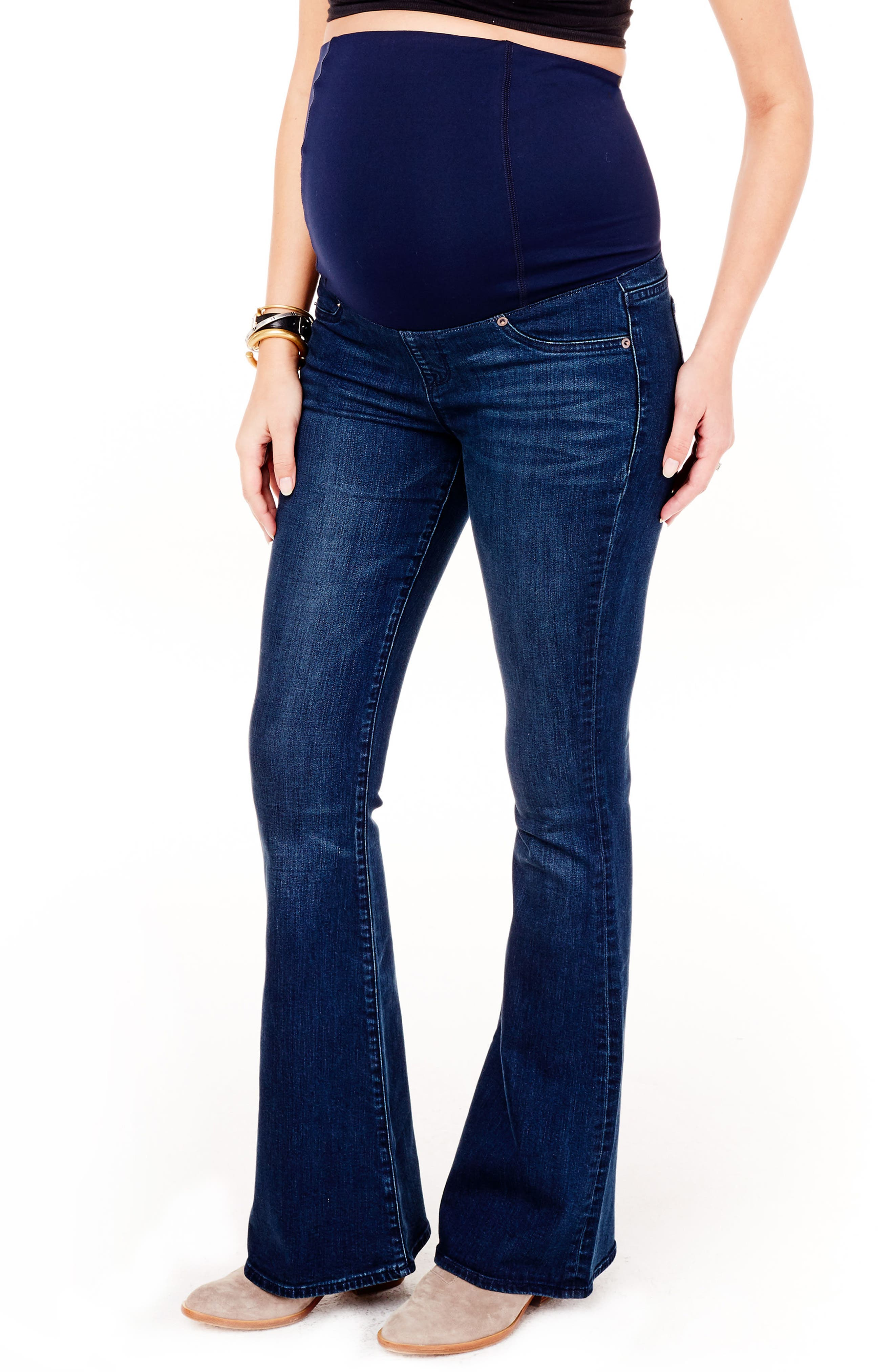 Alternate Image 5  - Ingrid & Isabel® Gracie Flare Maternity Jeans (True Blue)