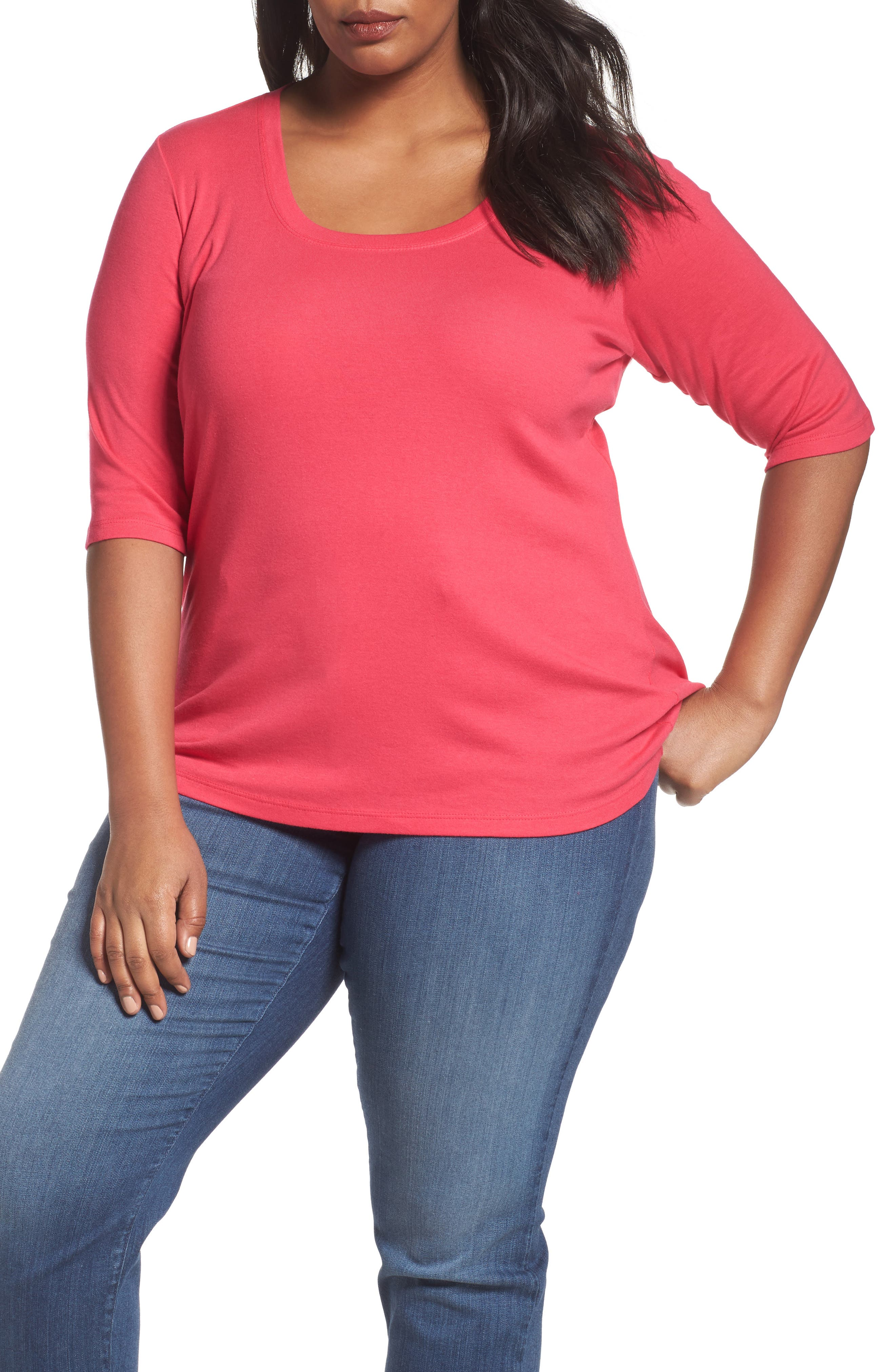 Sejour Elbow Sleeve Scoop Neck Tee (Plus Size)