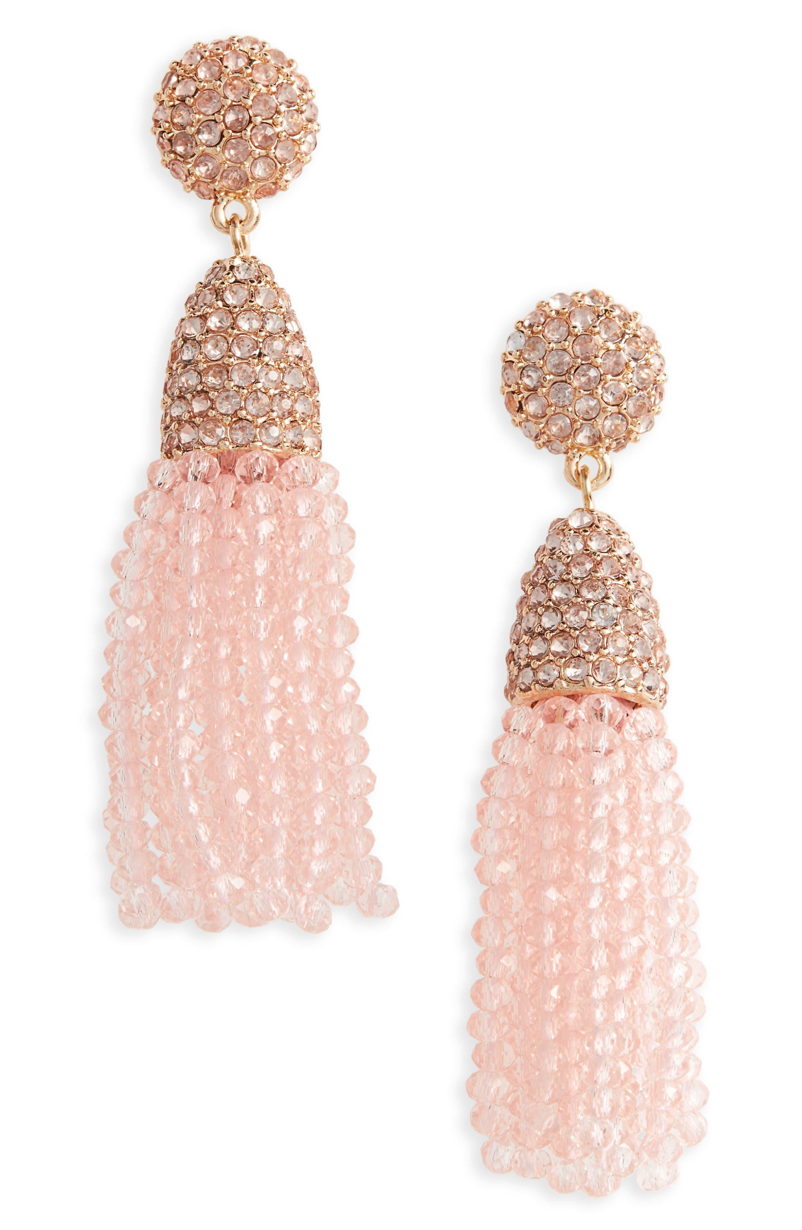Annabelle Mini Tassel Drop Earrings,                         Main,                         color, Light Pink