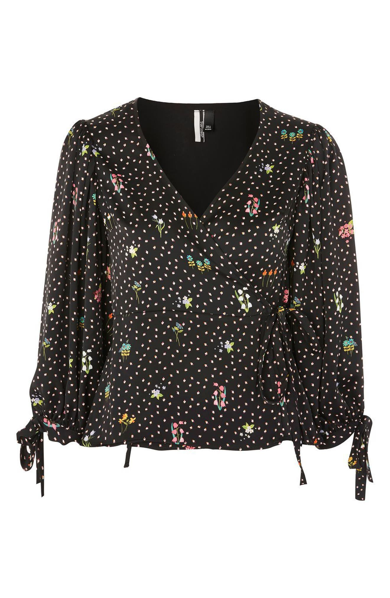 Alternate Image 4  - Topshop Floral Balloon Sleeve Wrap Blouse