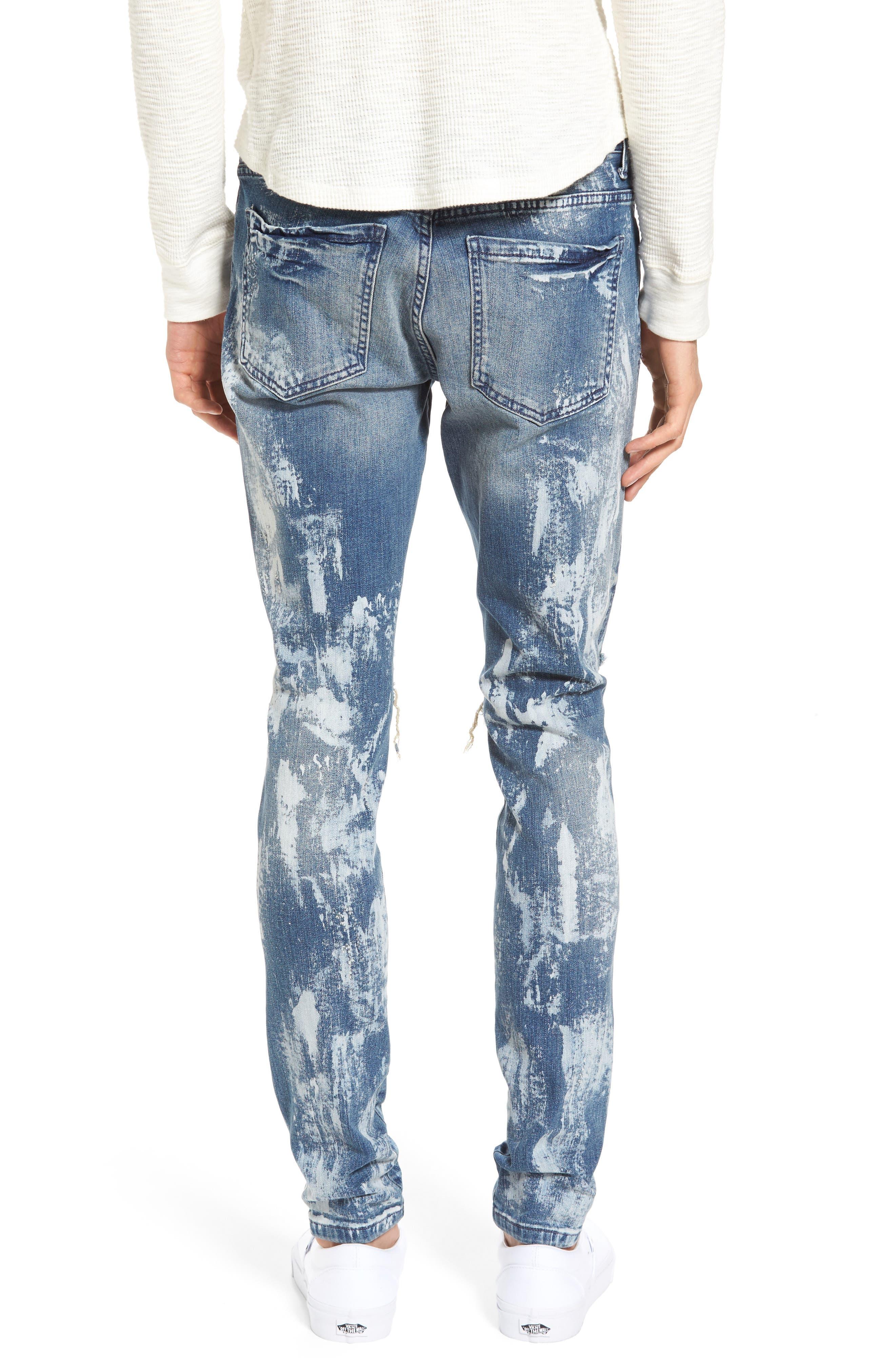 Slim Fit Destroyed Jeans,                             Alternate thumbnail 2, color,                             Heavy Bleach