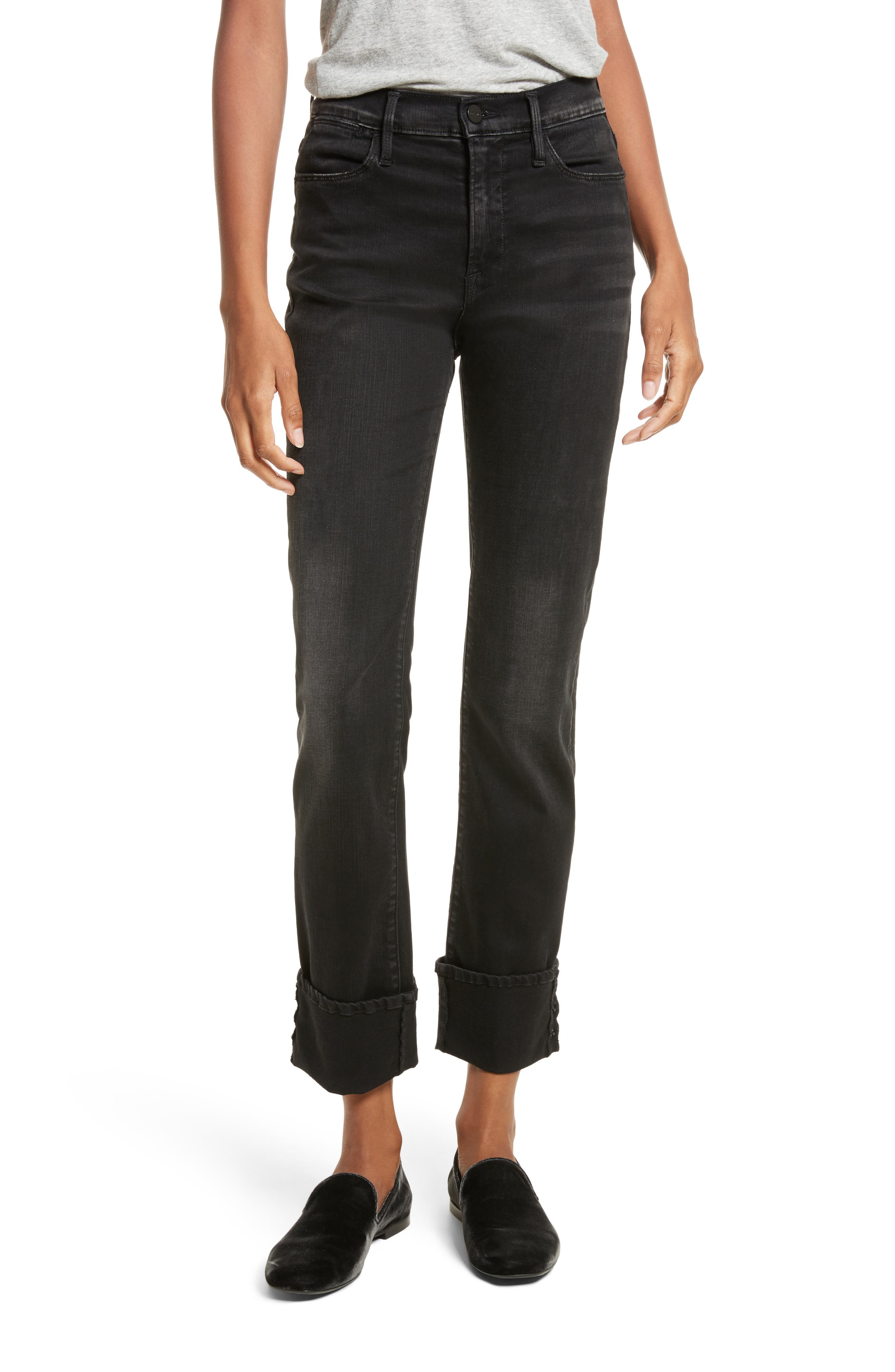 Alternate Image 1 Selected - FRAME Le High Straight Leg Cuffed Jeans (Oxshott)