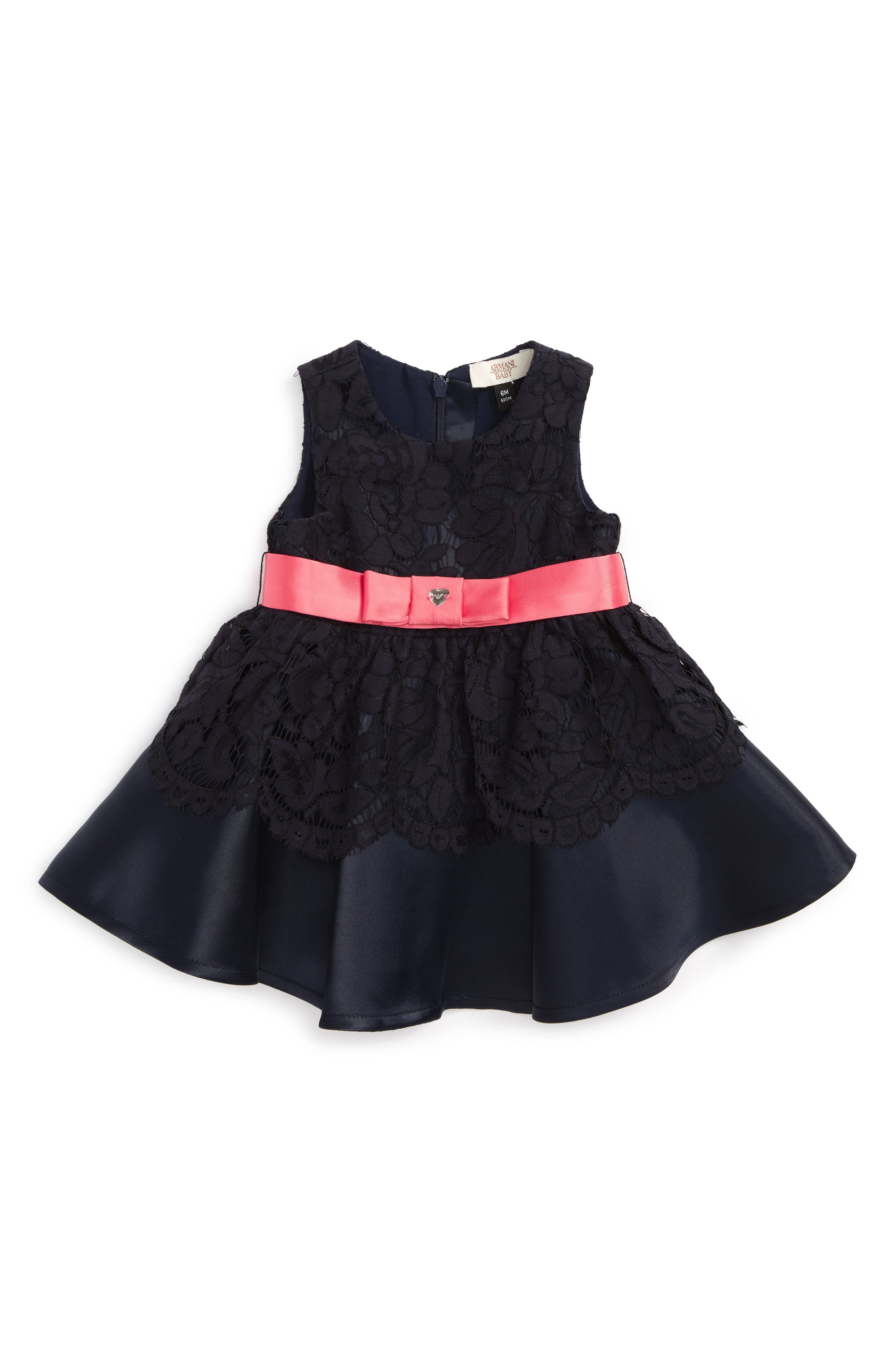 Main Image - Armani Junior Lace Party Dress (Baby Girls)