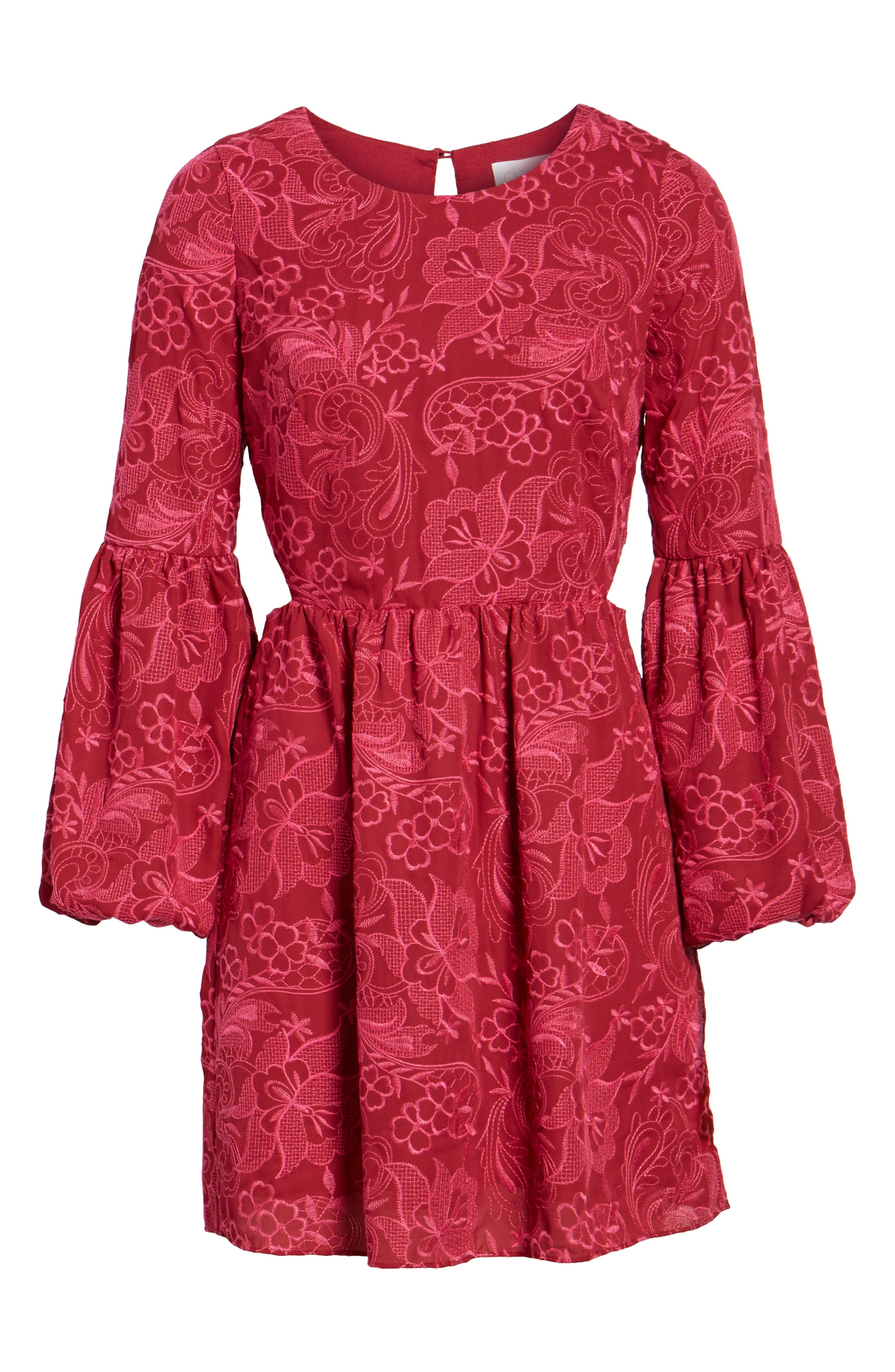 Serafina Bell Sleeve Dress,                             Alternate thumbnail 6, color,                             Shiraz